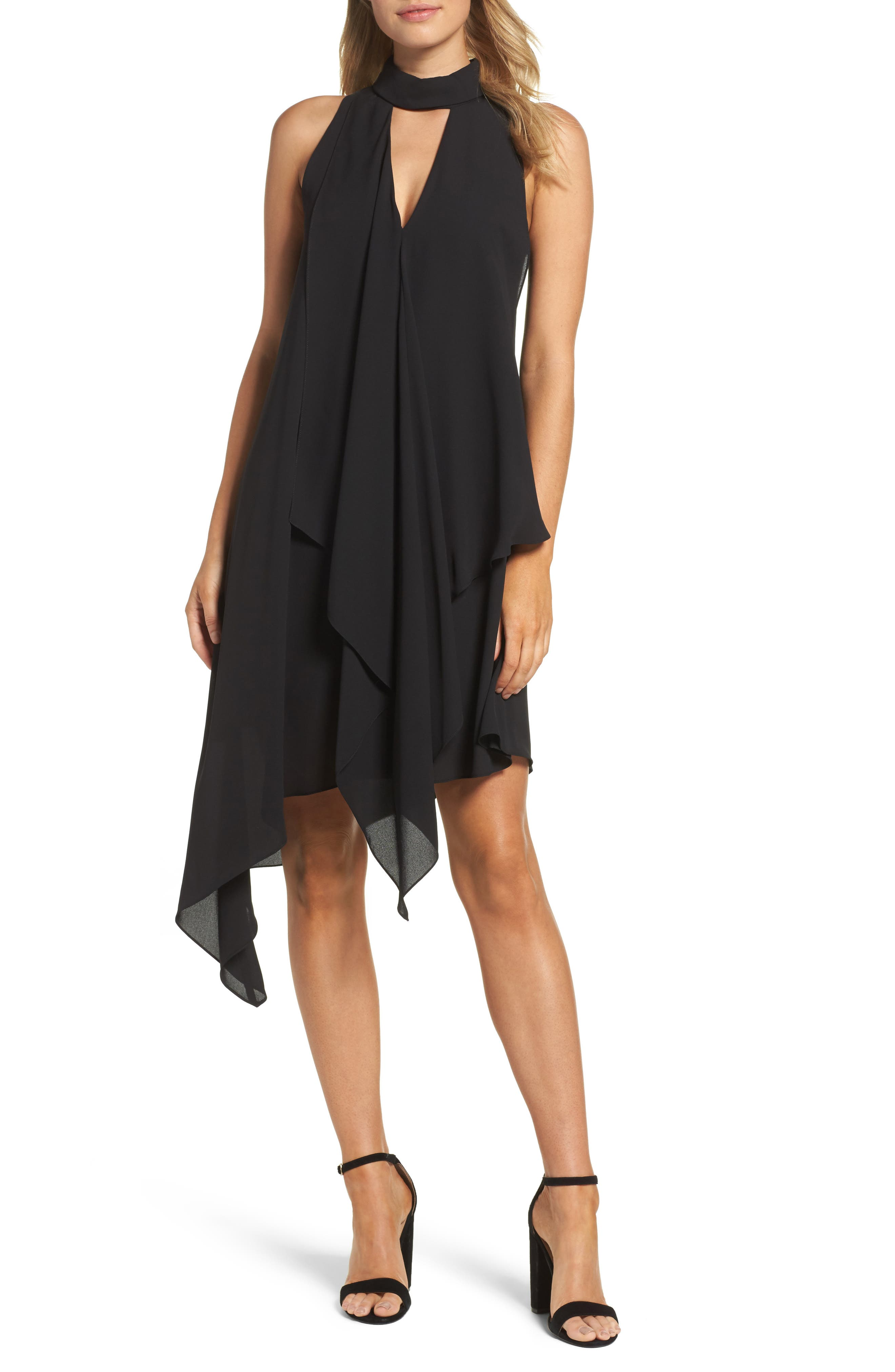 Maggy London Asymmetric Hem Shift Dress (Regular & Petite)
