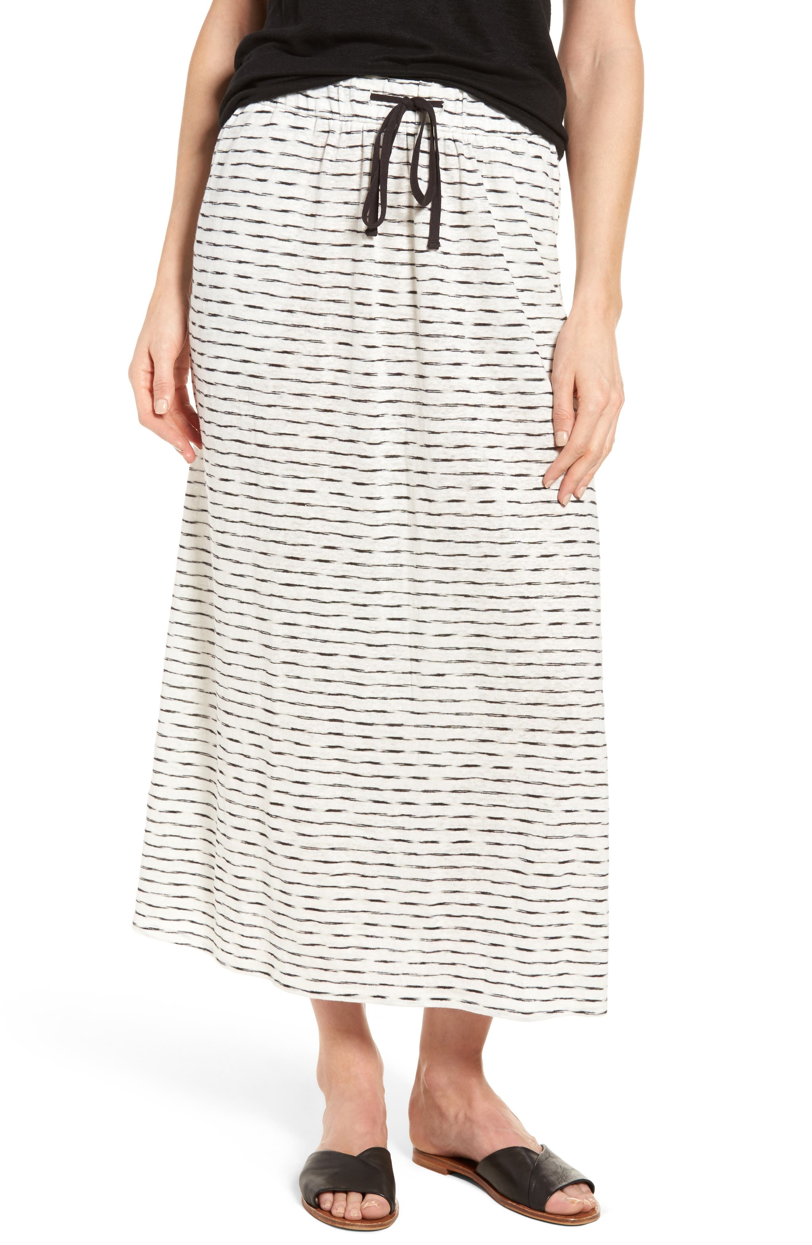 Eileen Fisher Striated Organic Linen Knit Skirt