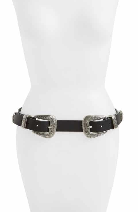 Topshop Double Buckle Faux Leather Western Belt