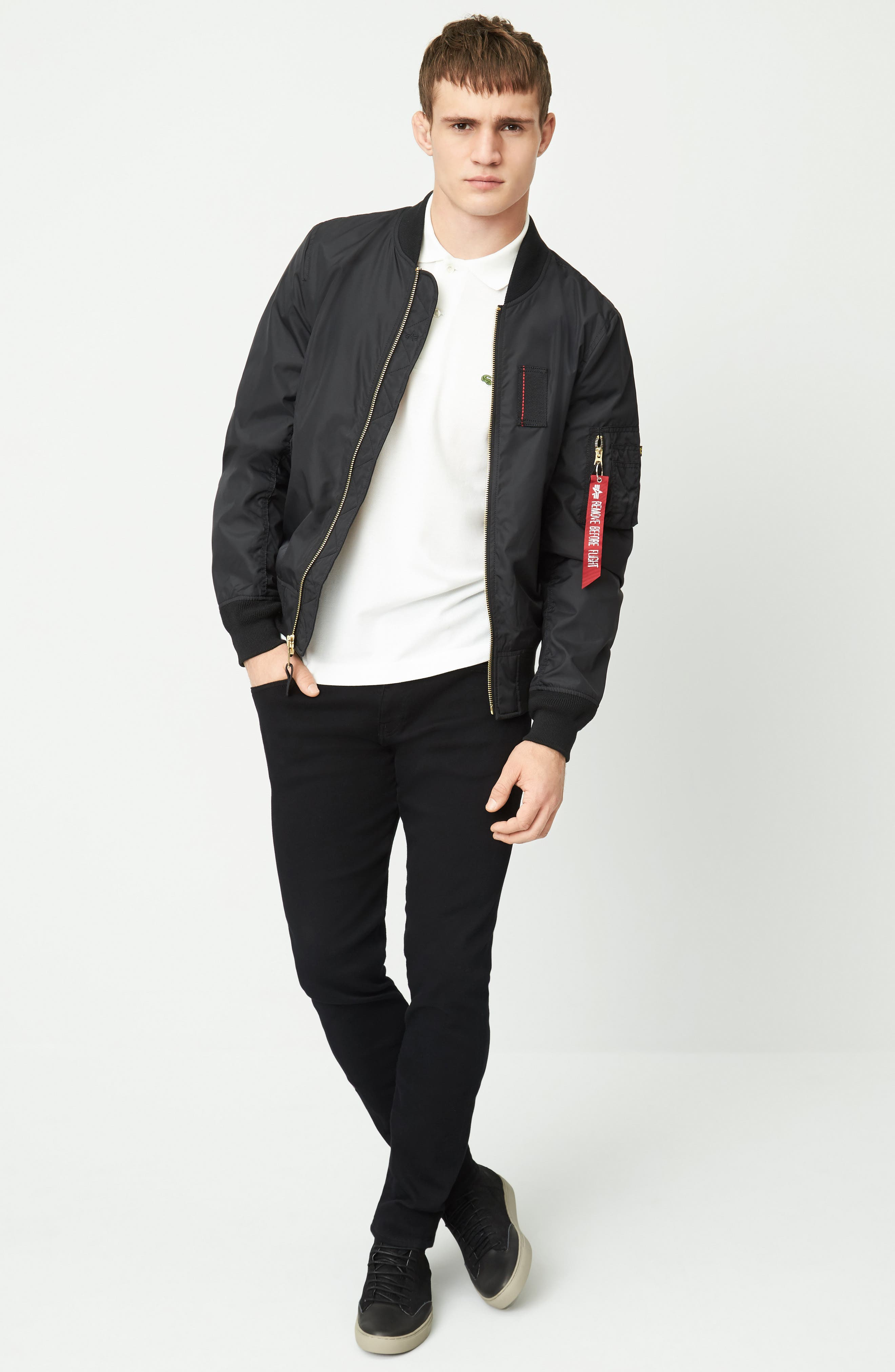 Alpha Industries Bomber Jacket, Lacoste Polo & Mavi Jeans Slim Fit Jeans Outfit with Accessories