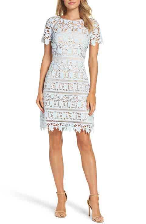 Eliza J Crochet Overlay Dress (Regular   Petite)