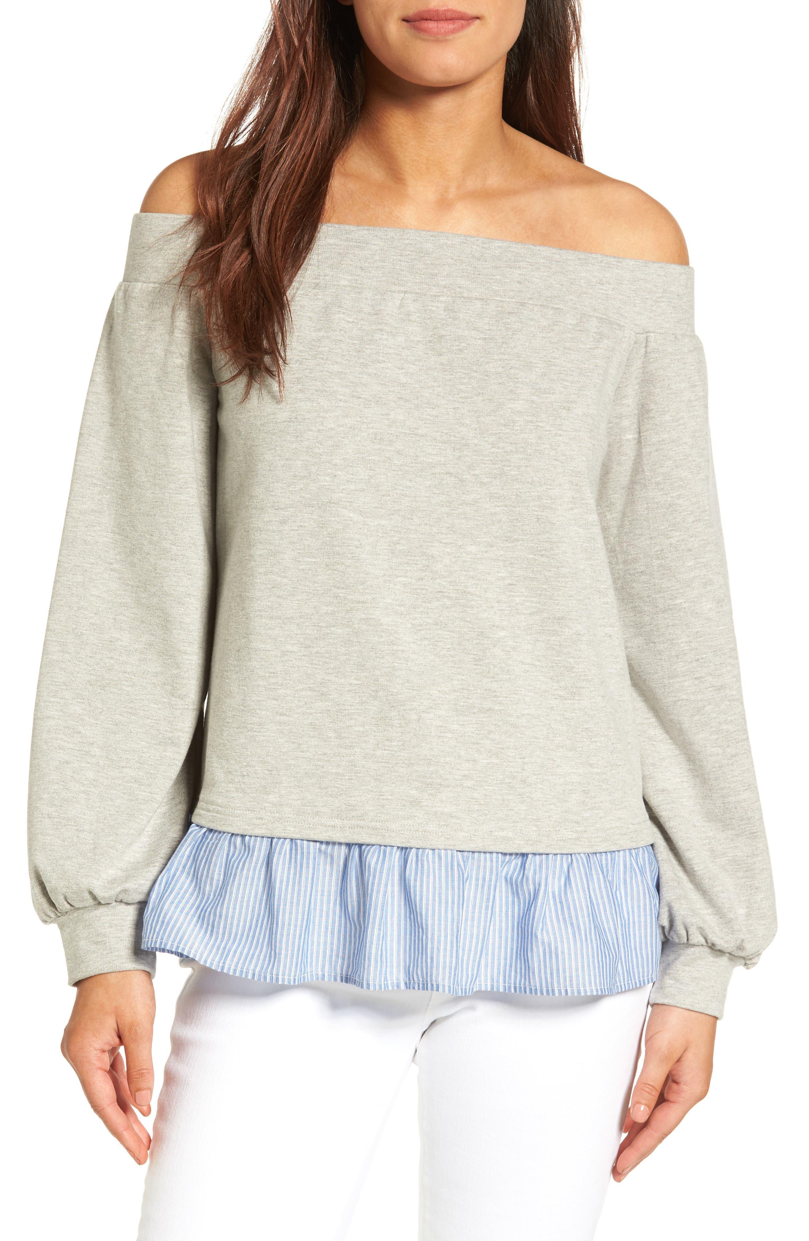 Halogen® Poplin Hem Off the Shoulder Sweatshirt (Regular & Petite)