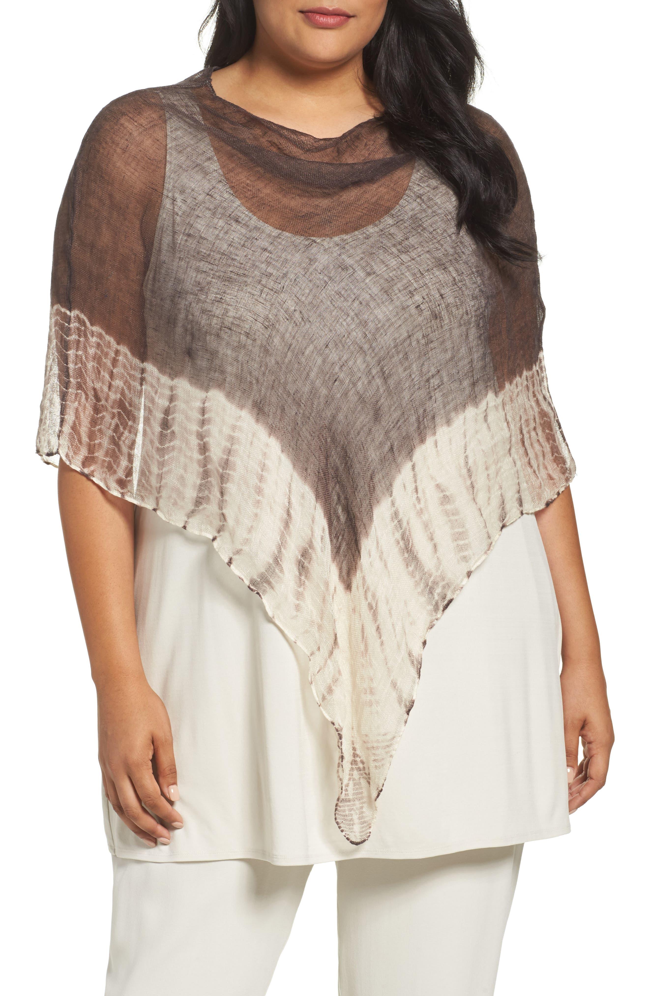 Eileen Fisher Shibori Organic Linen Poncho (Plus Size)