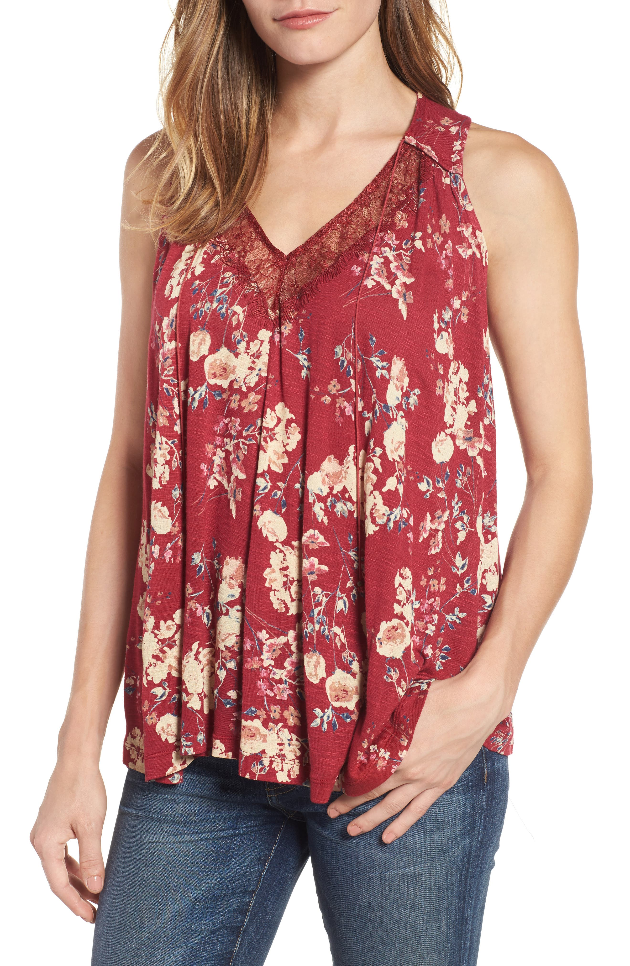 Lucky Brand Wildflower Lace Trim Tank