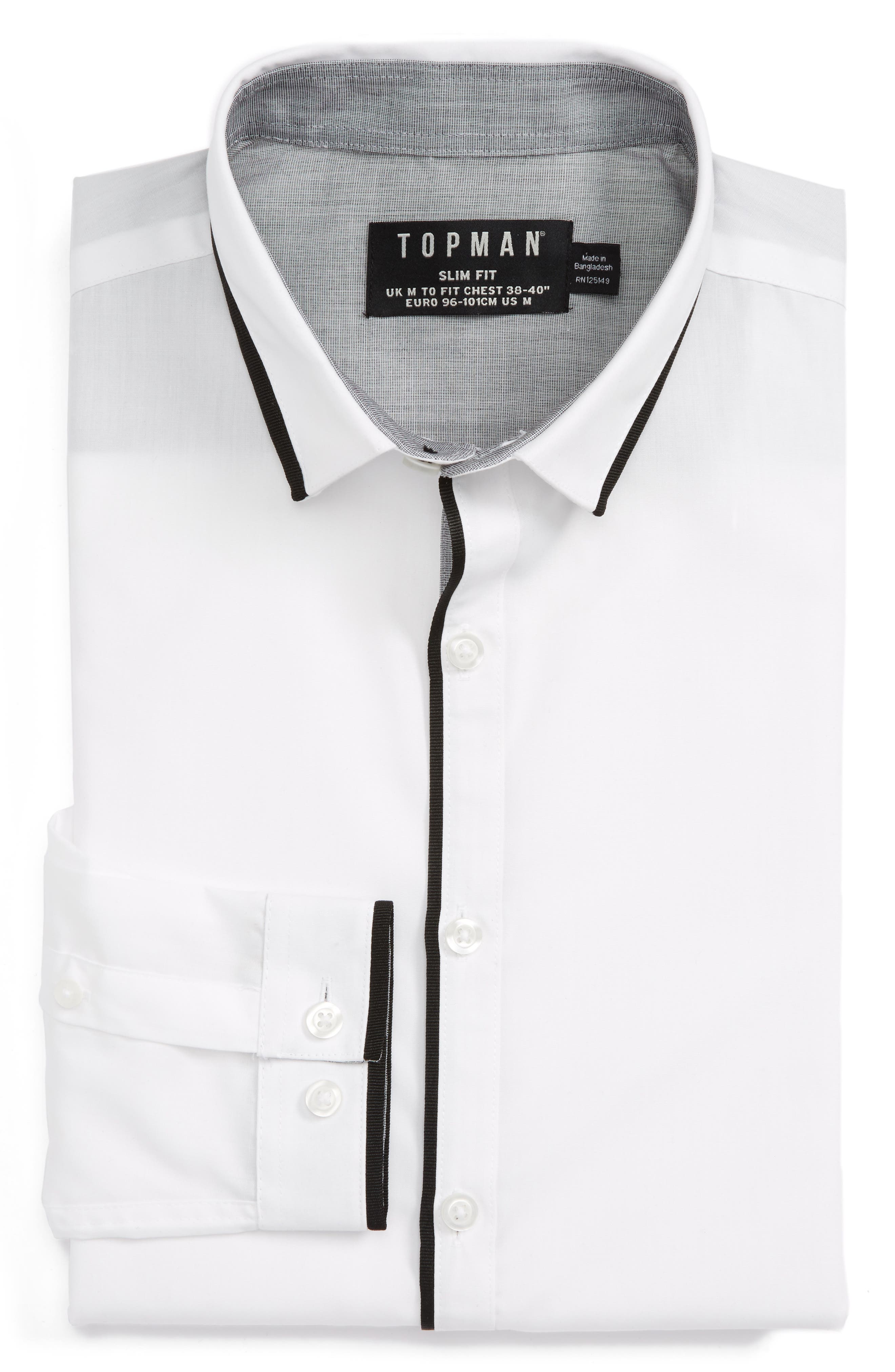Topman Slim Fit Contrast Dress Shirt