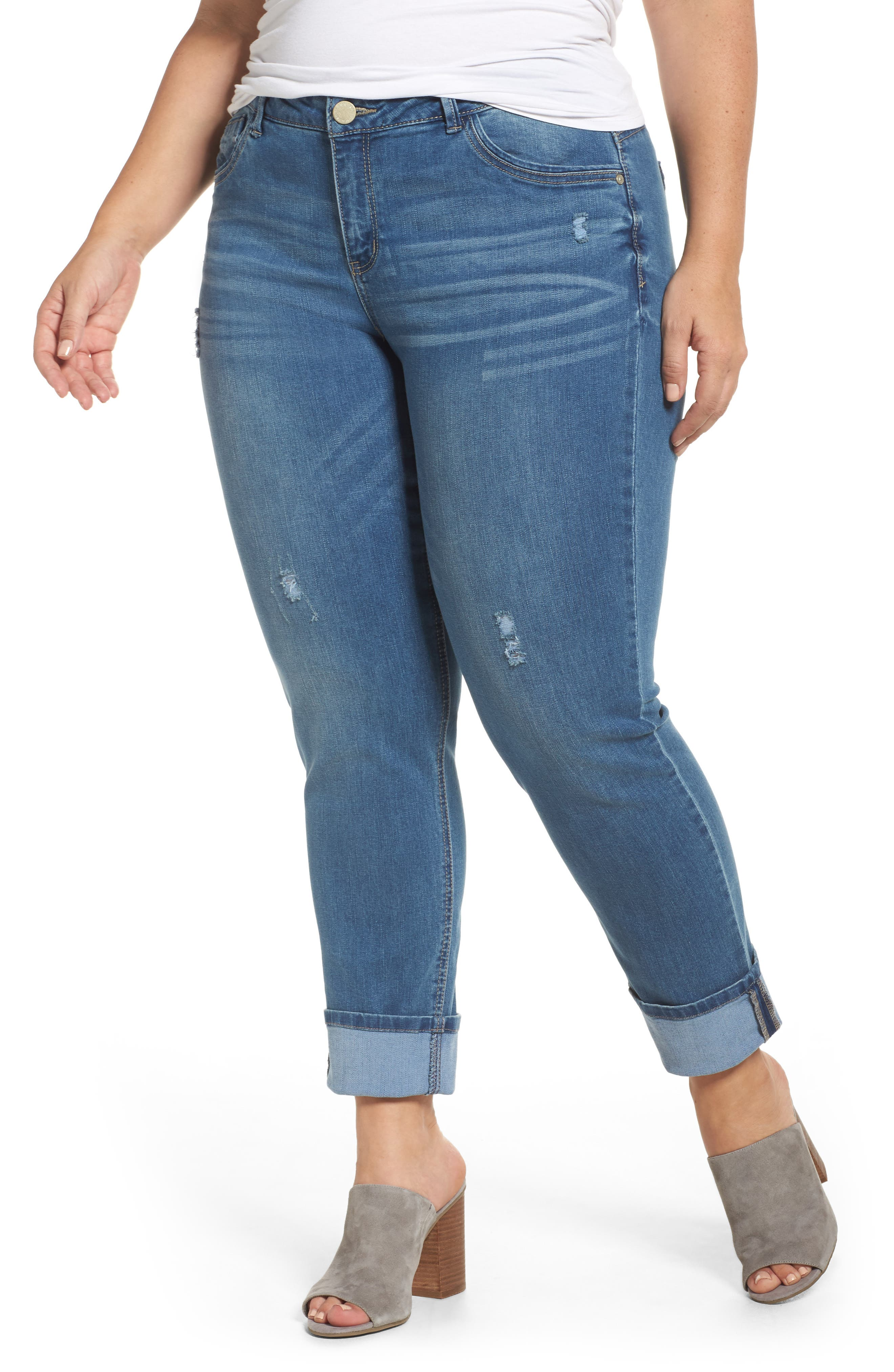 Wit & Wisdom Cuff Slim Girlfriend Jeans (Plus Size) (Nordstrom Exclusive)