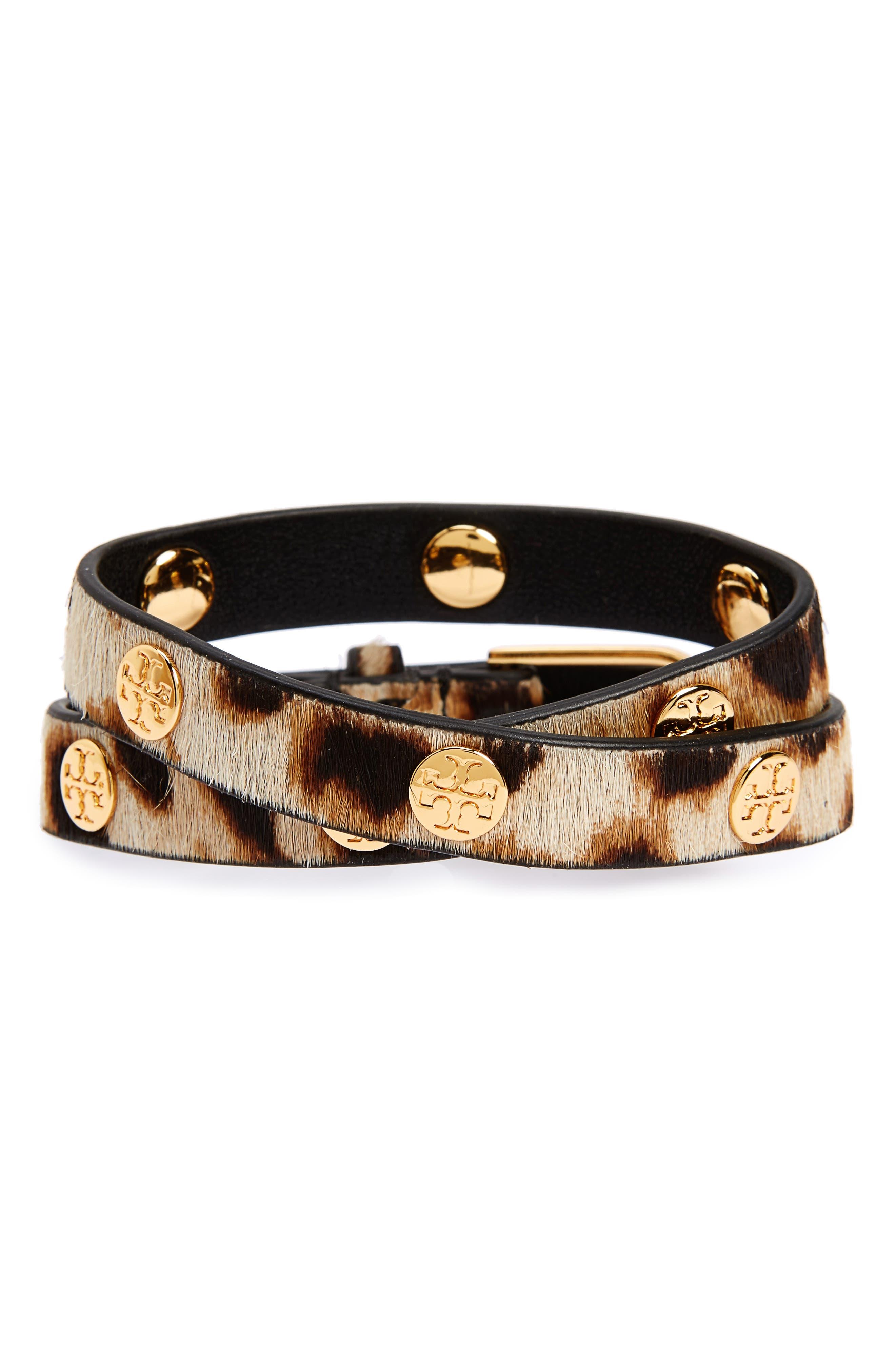 Tory Burch Genuine Calf Hair Wrap Bracelet