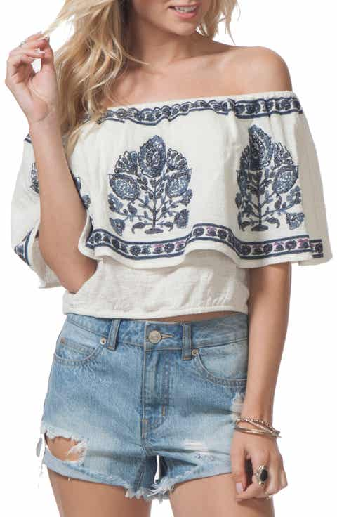 Rip Curl Meadow Lark Embroidered Off the Shoulder Top