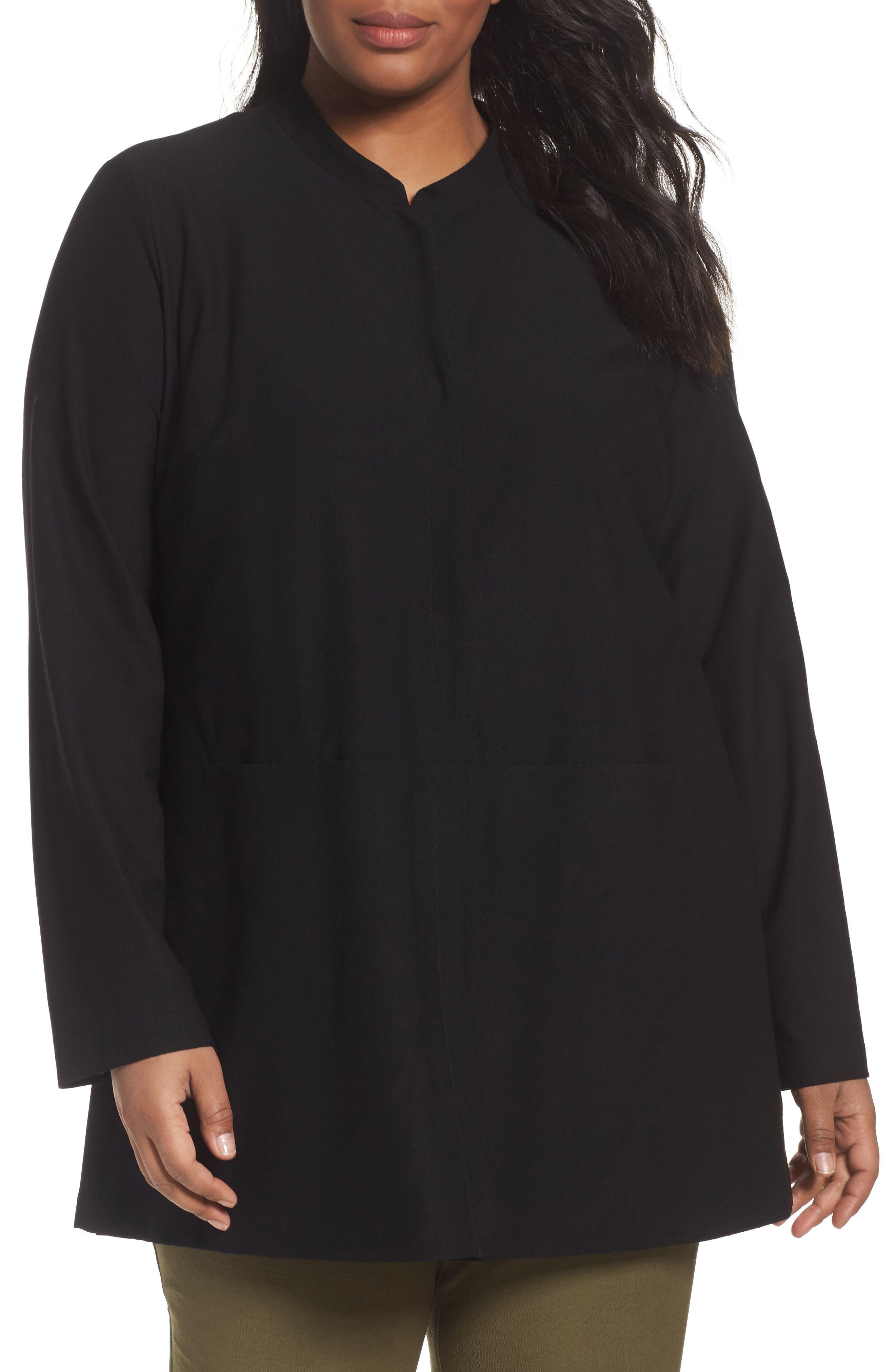 Eileen Fisher Mandarin Collar Knit Jacket (Plus Size)