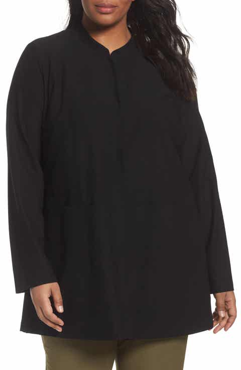 Eileen Fisher Mandarin Collar Knit Jacket (Plus Size)