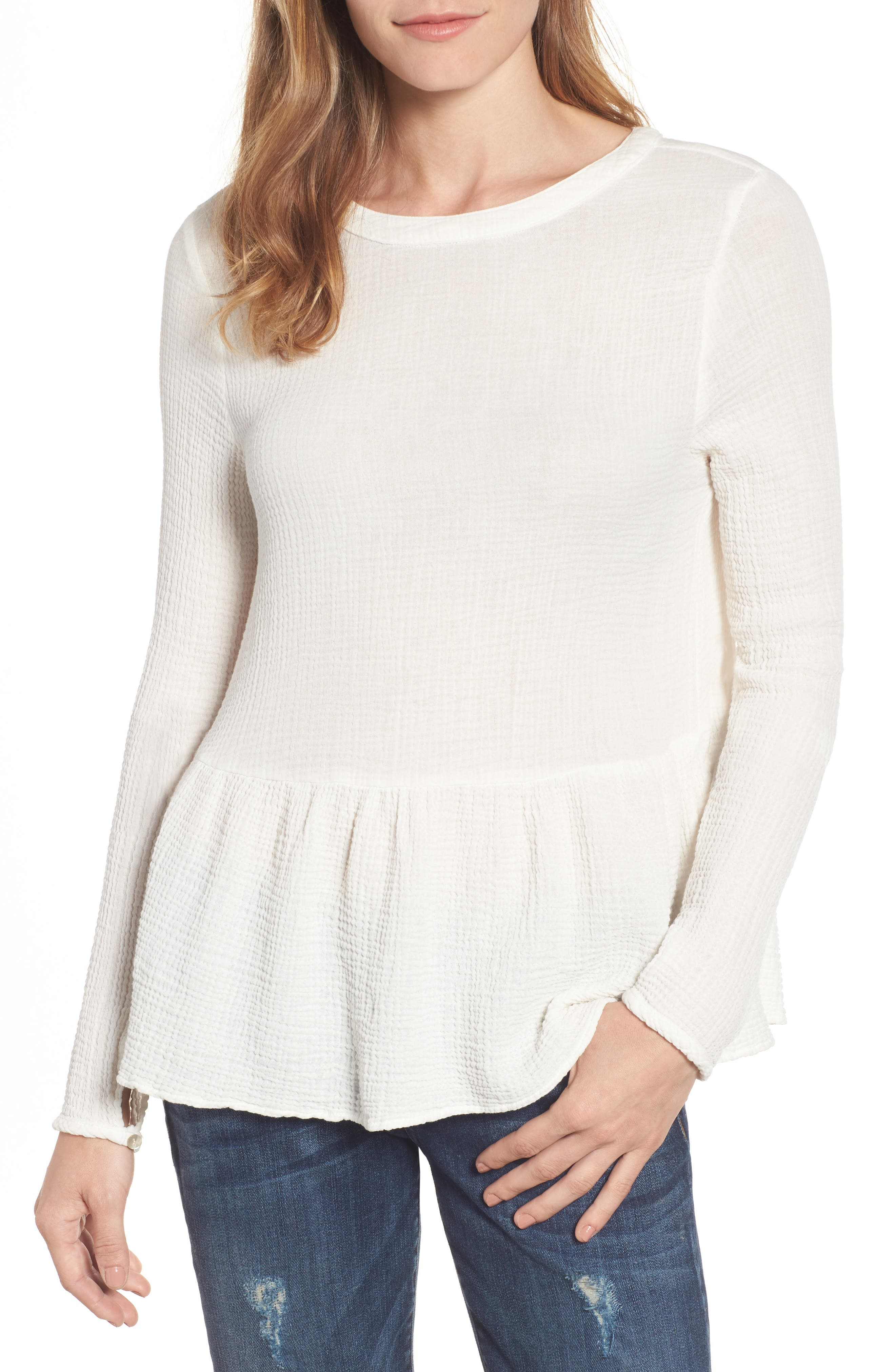 Velvet by Graham & Spencer Bubble Gauze Peplum Blouse