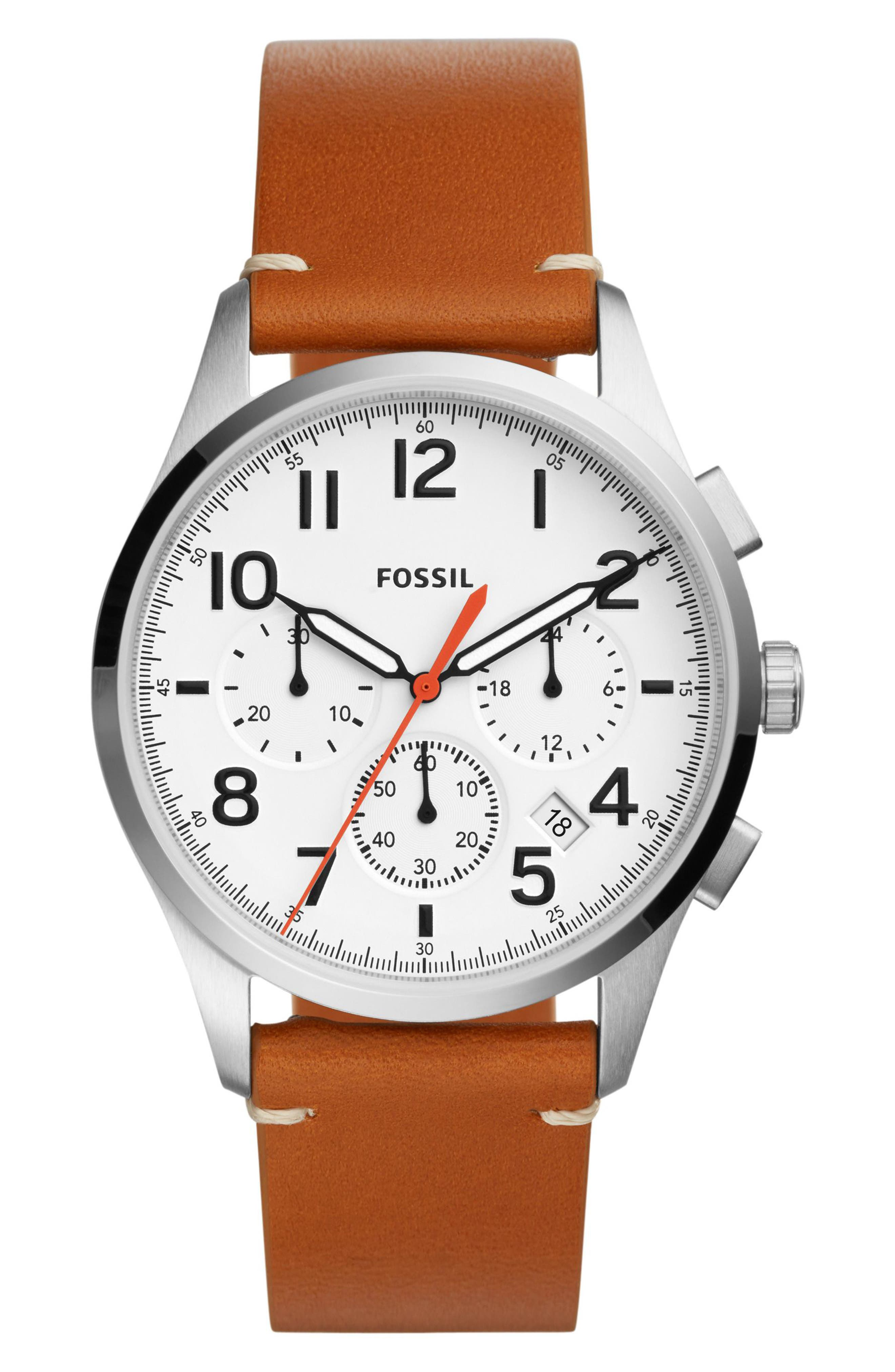 Fossil Vintage 54 Chronograph Leather Strap Watch, 42mm