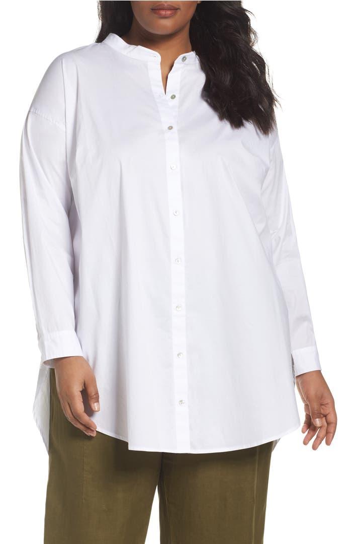 Eileen fisher stretch organic cotton shirt plus size for Eileen fisher organic cotton t shirt