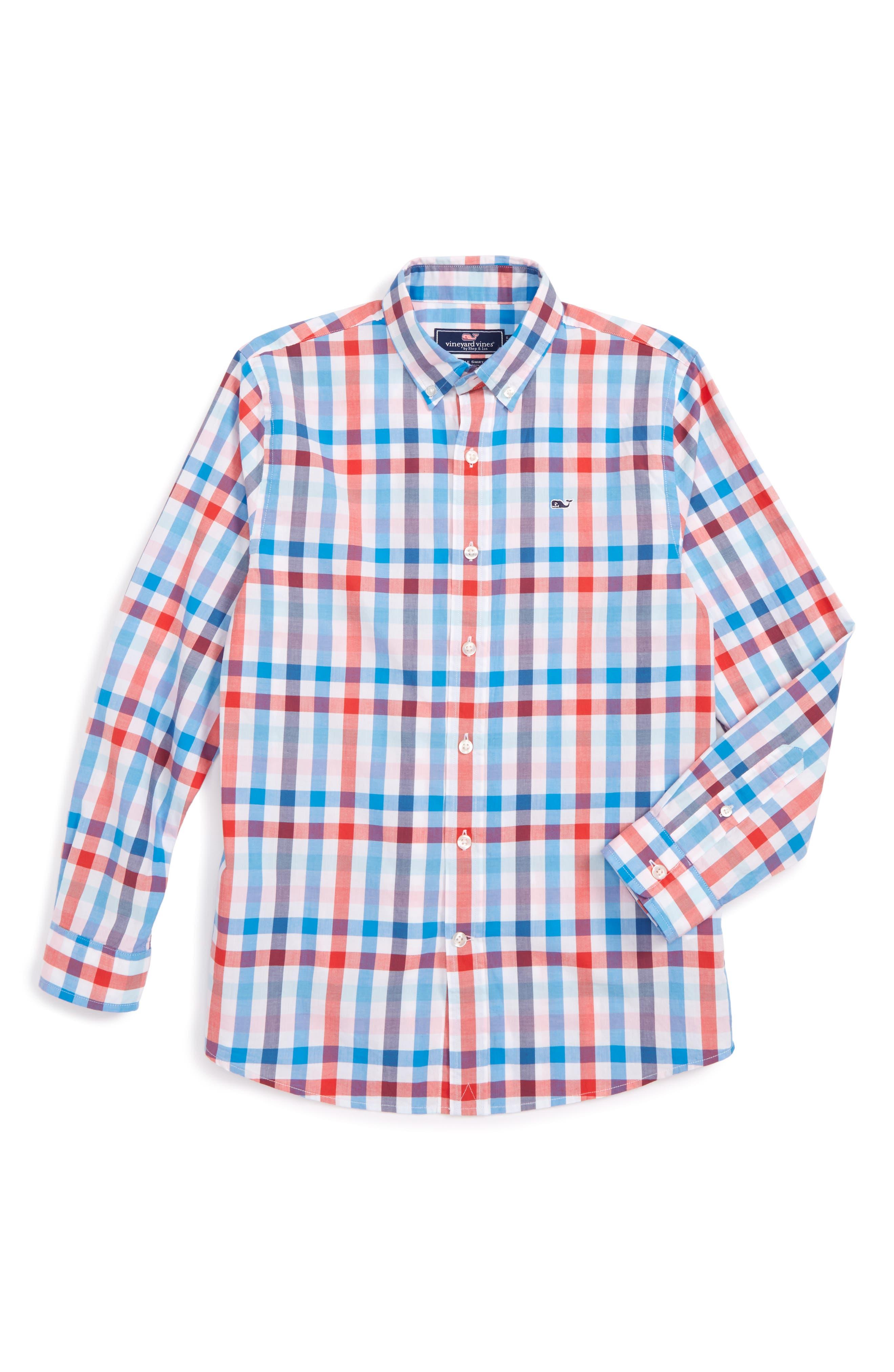 Vineyard Vines Chalwell Gingham Whale Shirt (Toddler Boys, Little Boys & Big Boys)