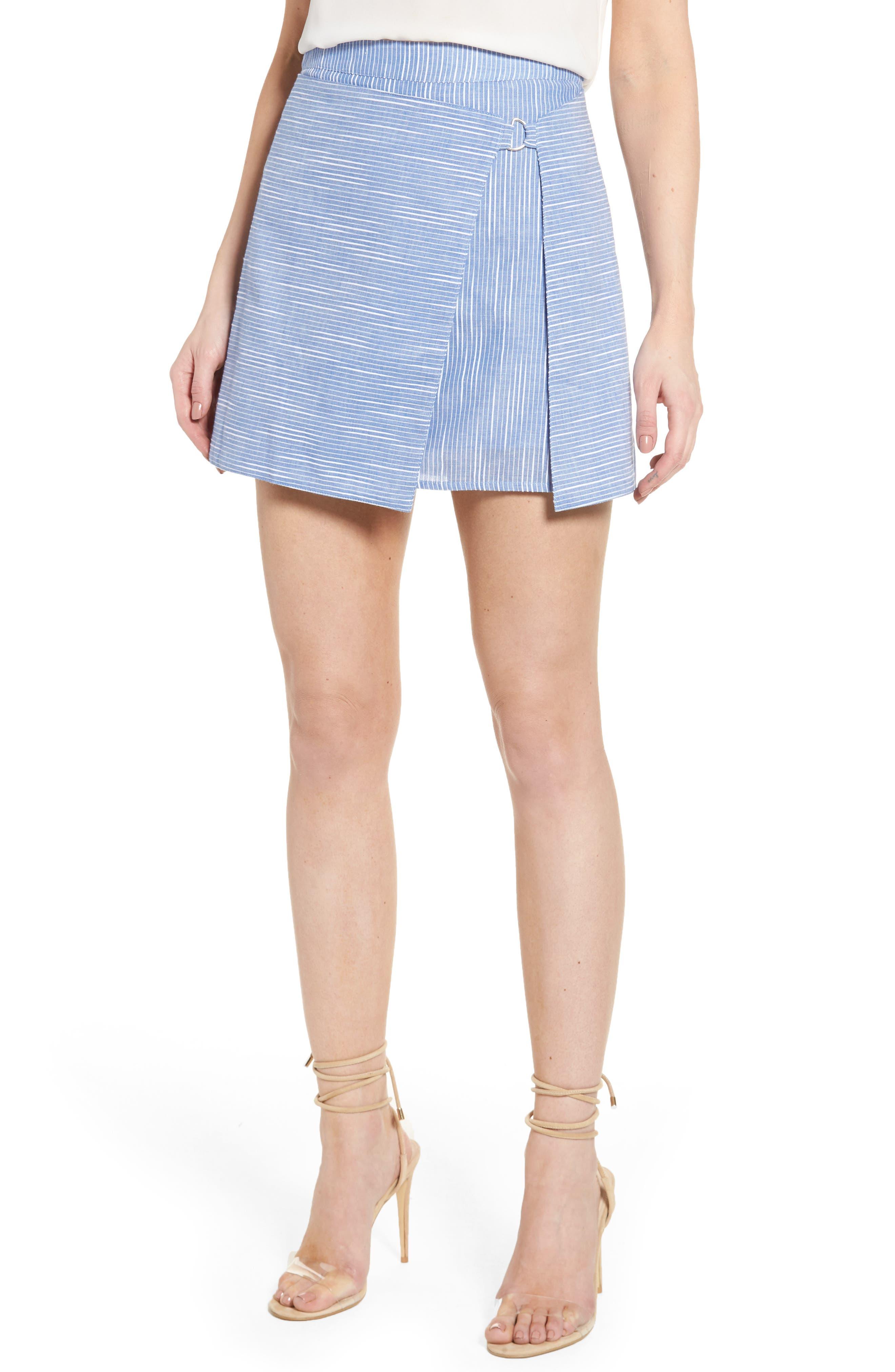 J.O.A. D-Ring Wrap Stripe Skirt