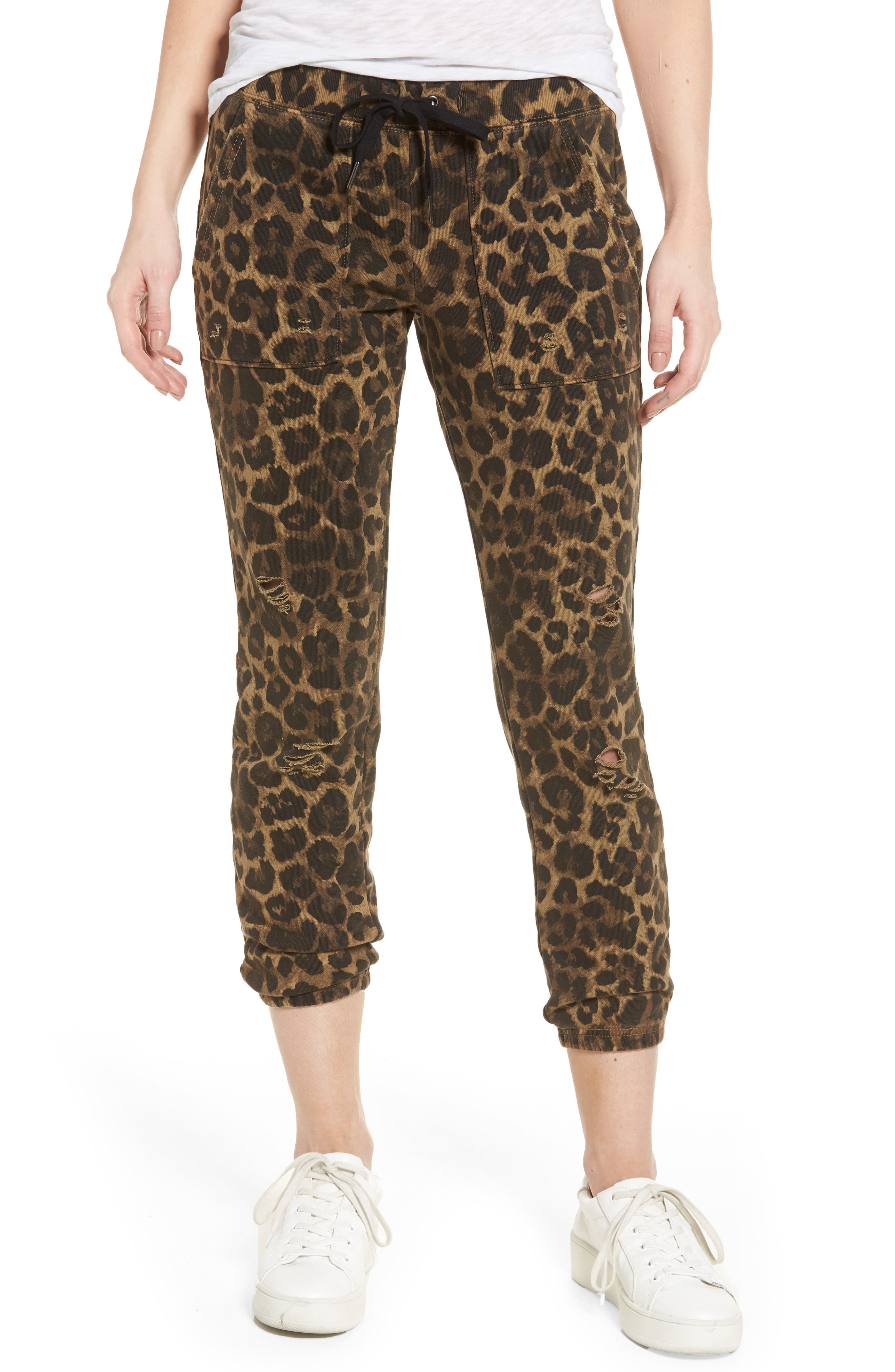 Pam & Gela Distressed Leopard Print Sweatpants