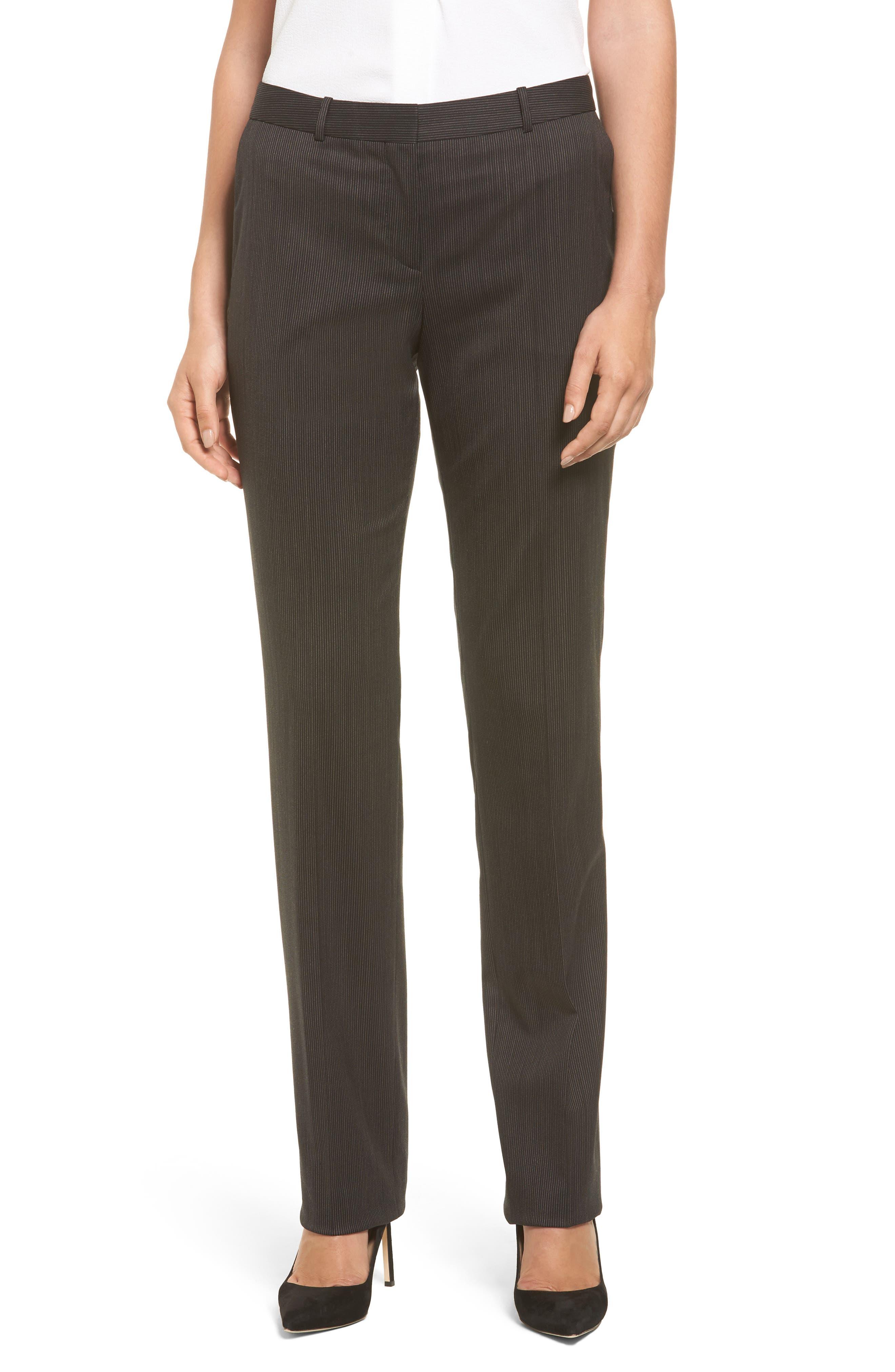 BOSS Tamea8 Pinstripe Stretch Wool Suit Trousers