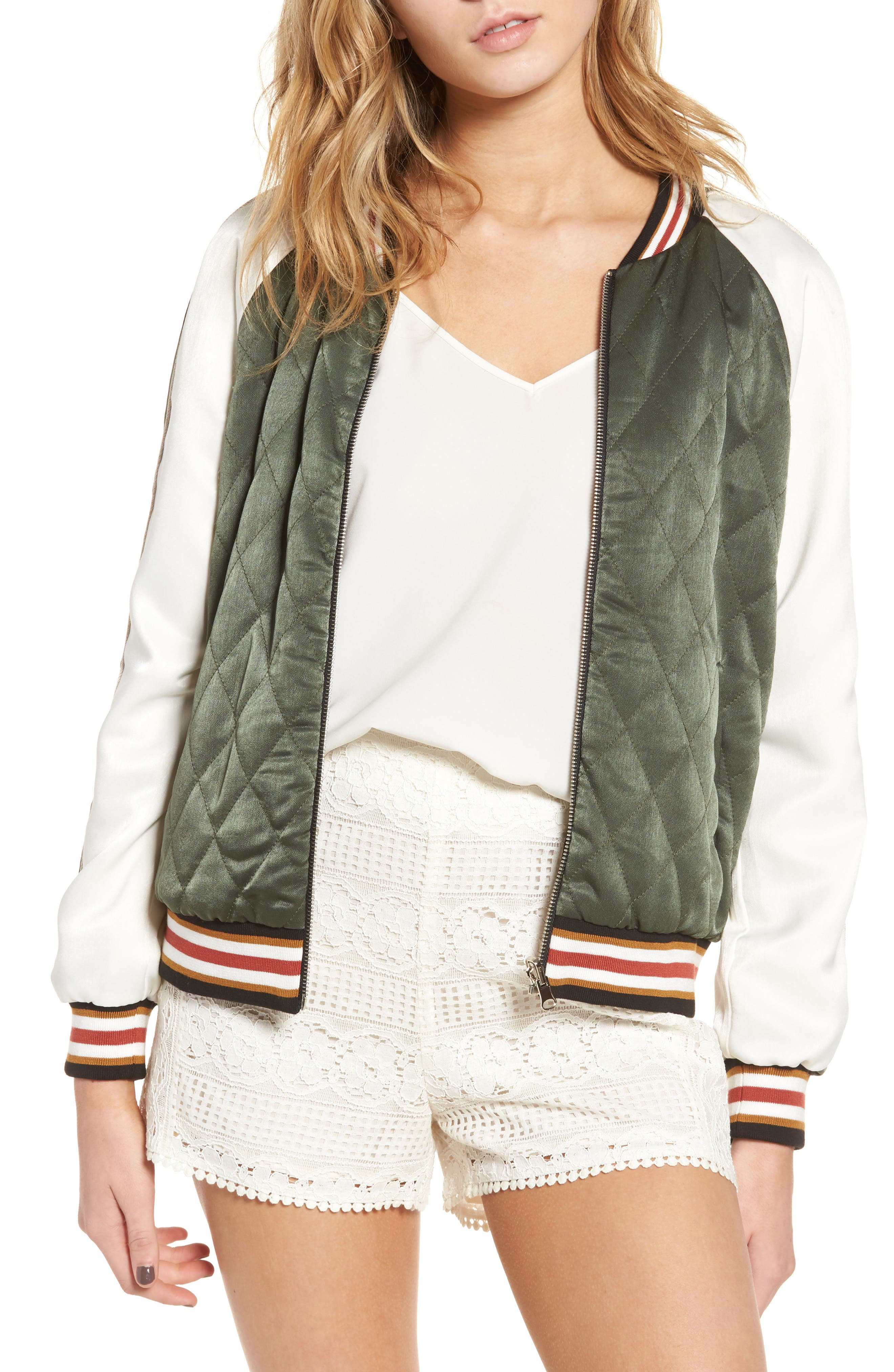 cupcakes and cashmere Brice Reversible Varsity Jacket