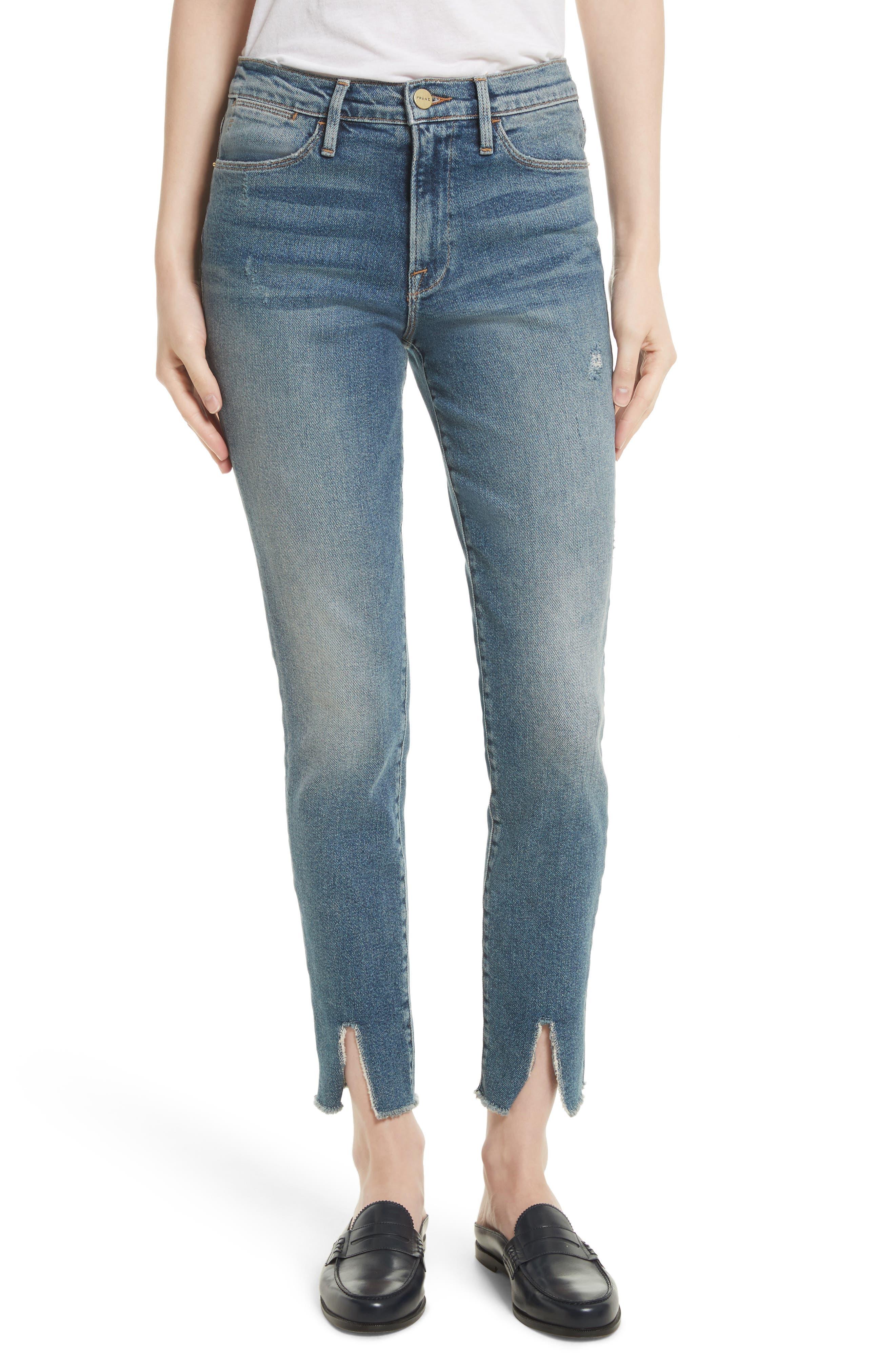 FRAME Raw Hem High Waist Skinny Jeans (Beckett)