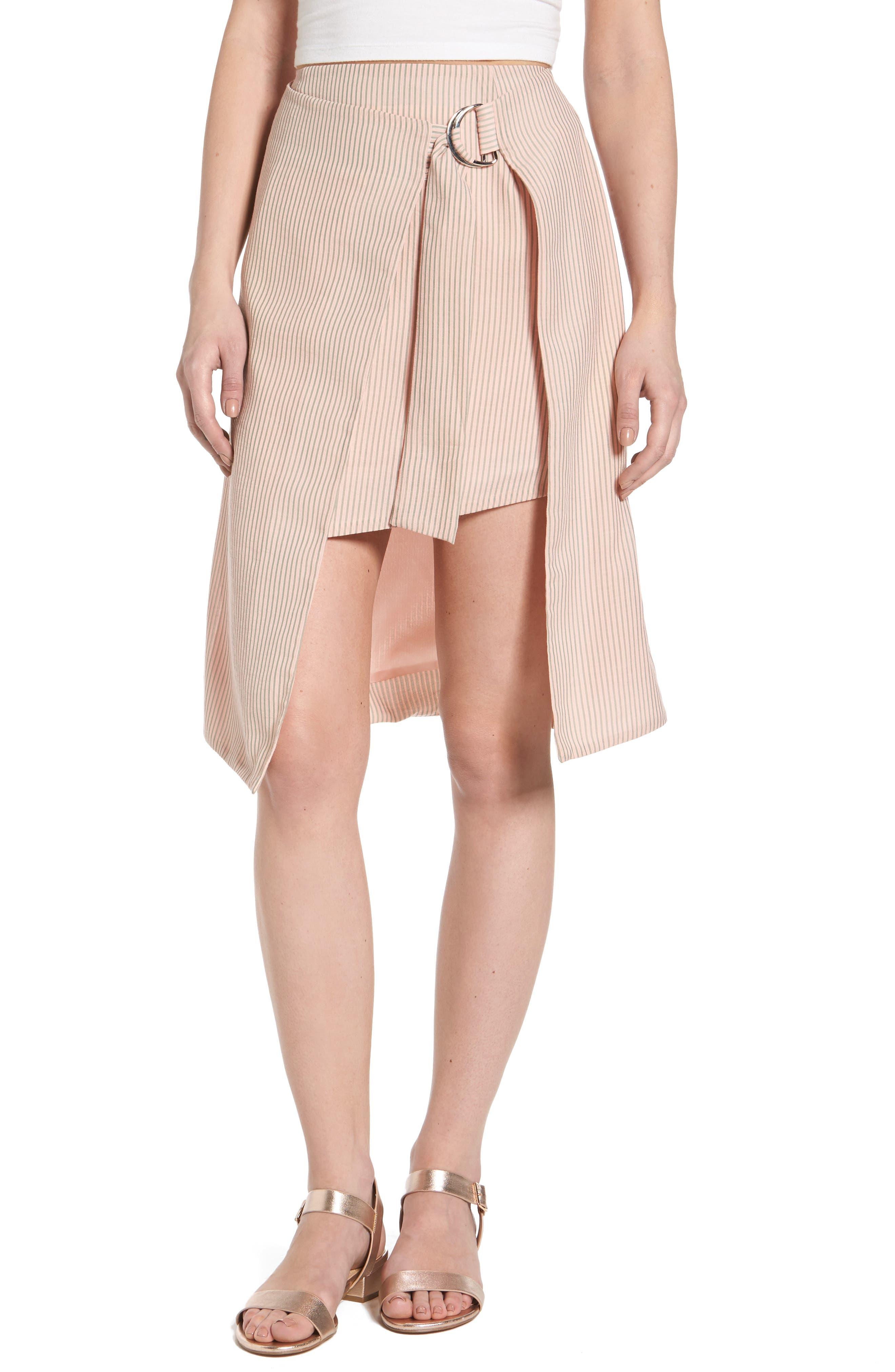 J.O.A. Pinstripe Wrap Skirt