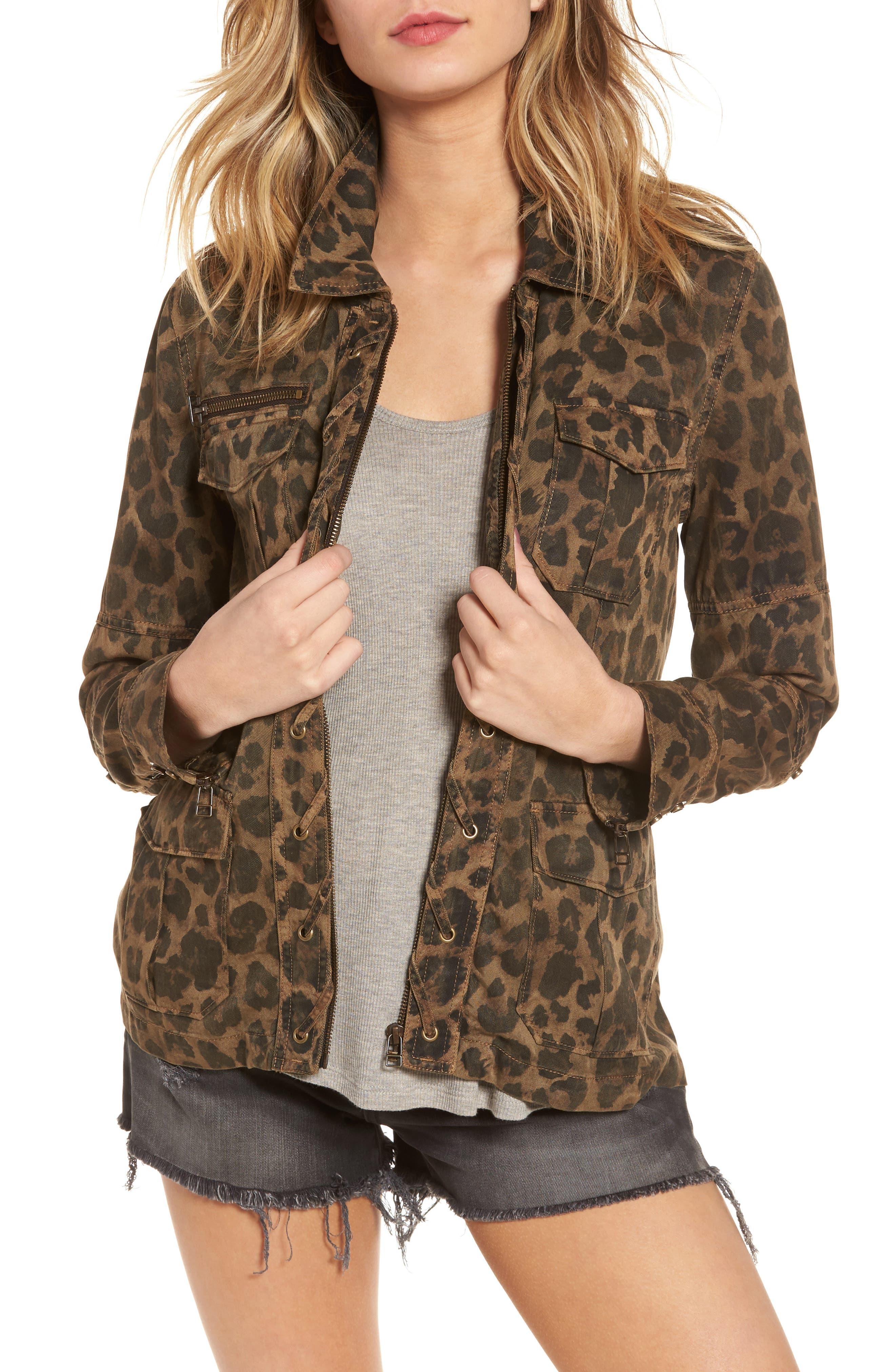 Pam & Gela Leopard Print Shirt Jacket