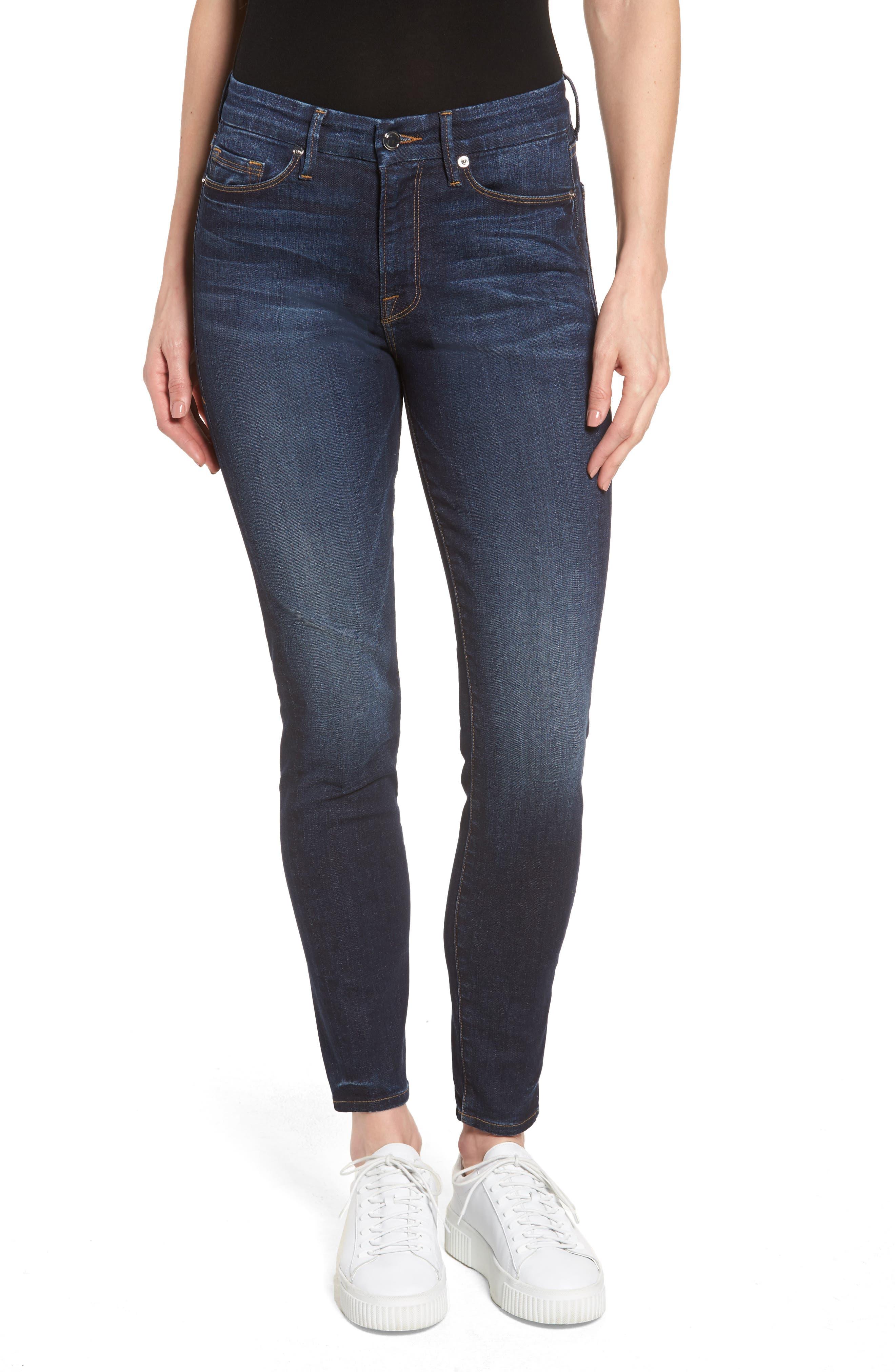 Good American High Waist Good Legs Crop Skinny Jeans (Blue 064) (Extended Sizes)