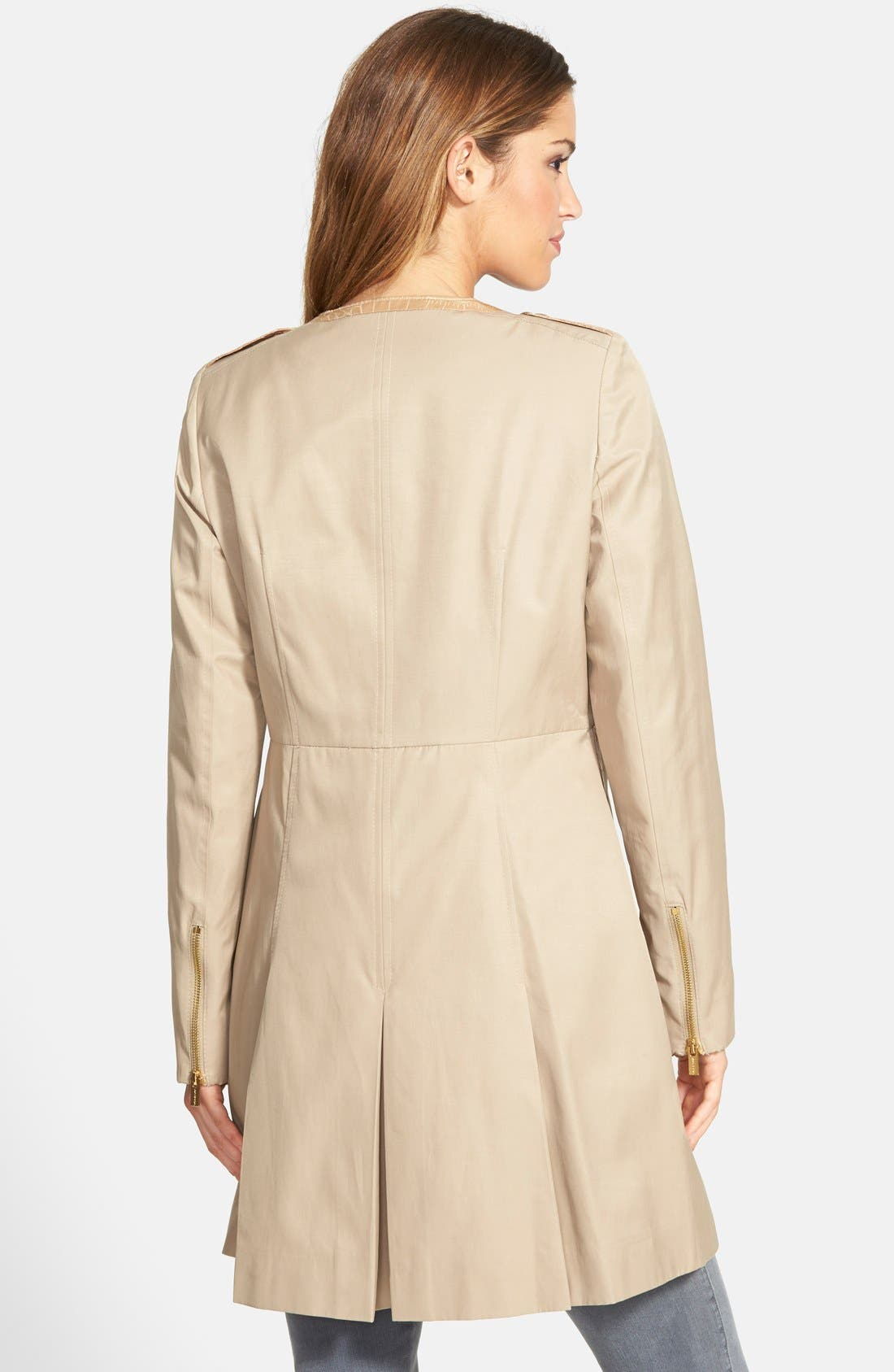 Alternate Image 2  - Via Spiga Front Zip Collarless Topper (Petite)