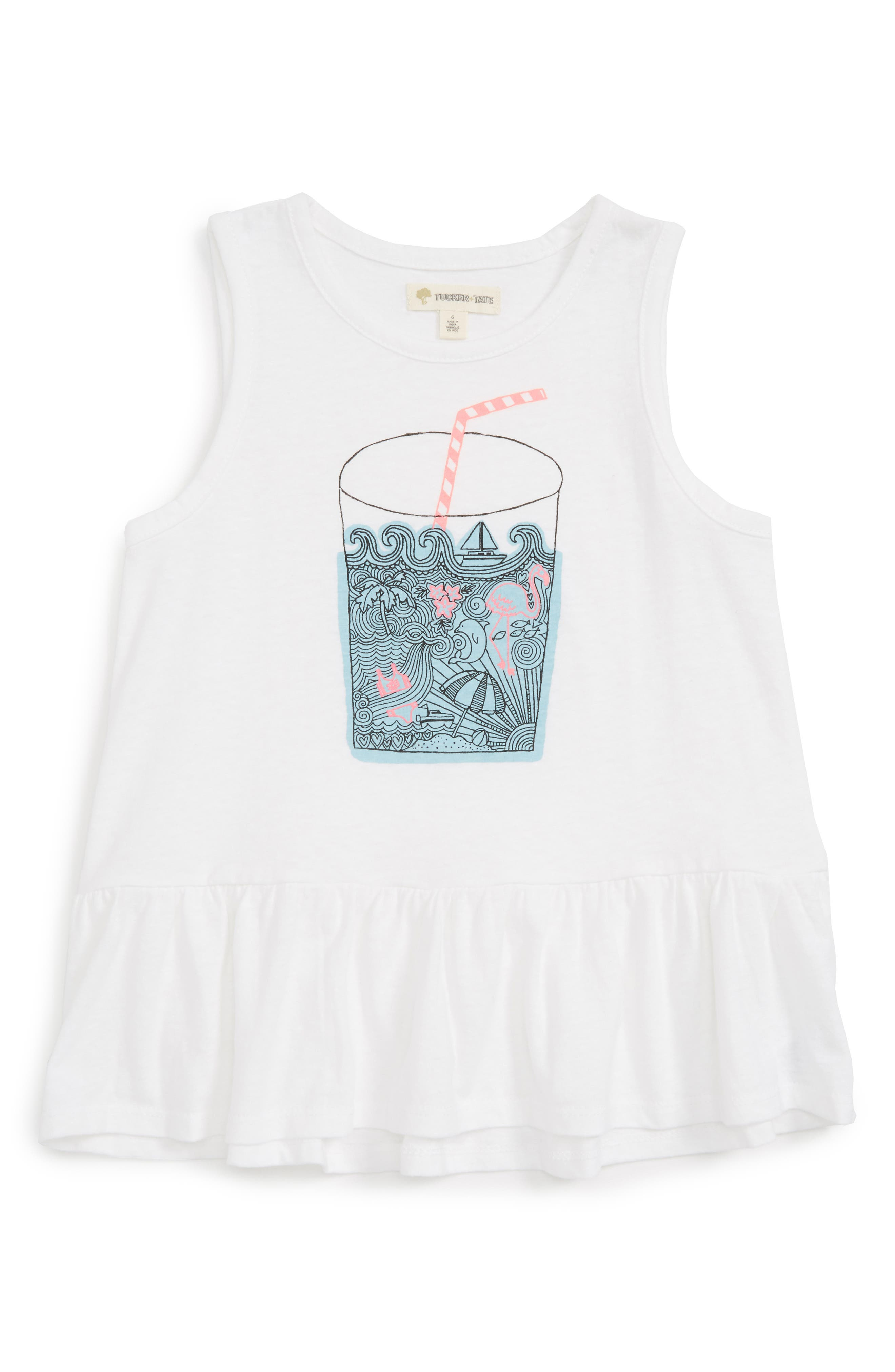 Tucker + Tate Graphic Peplum Tank (Toddler Girls, Little Girls & Big Girls)