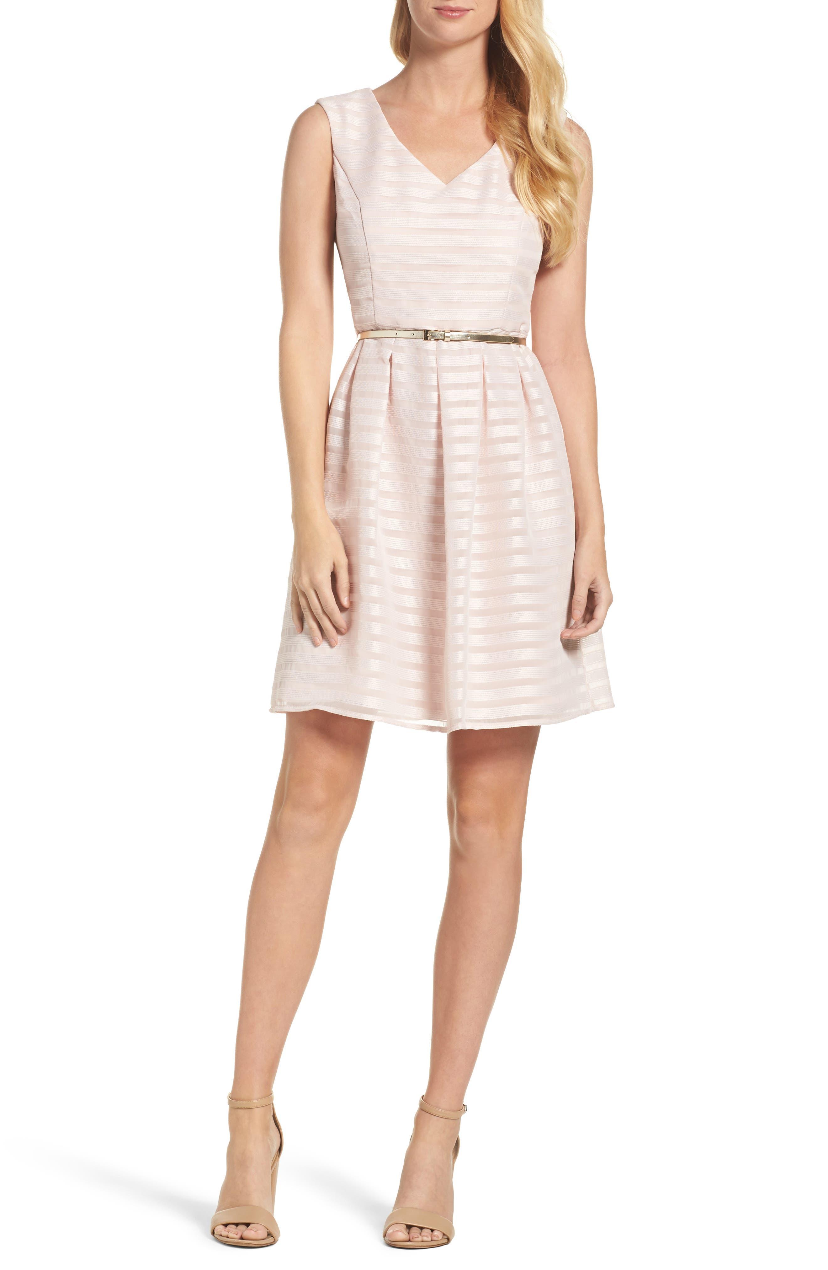 Ellen Tracy Satin Fit & Flare Dress