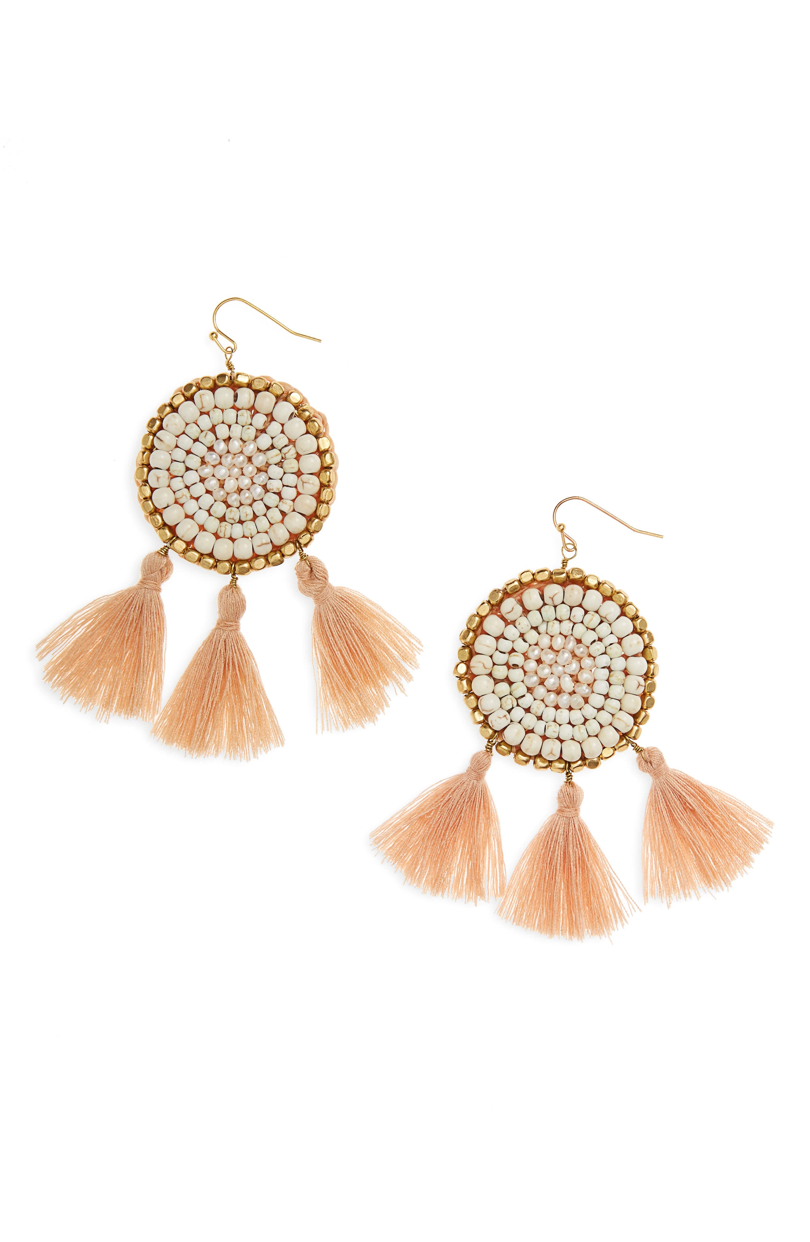 Panacea Circle Tassel Drop Earrings