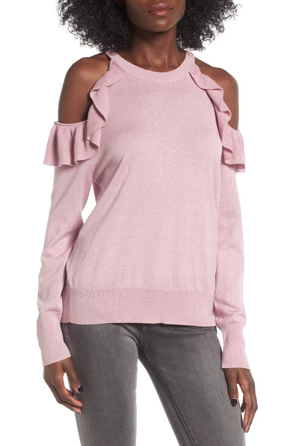 Main Image - BP. Ruffle Cold Shoulder Pullover