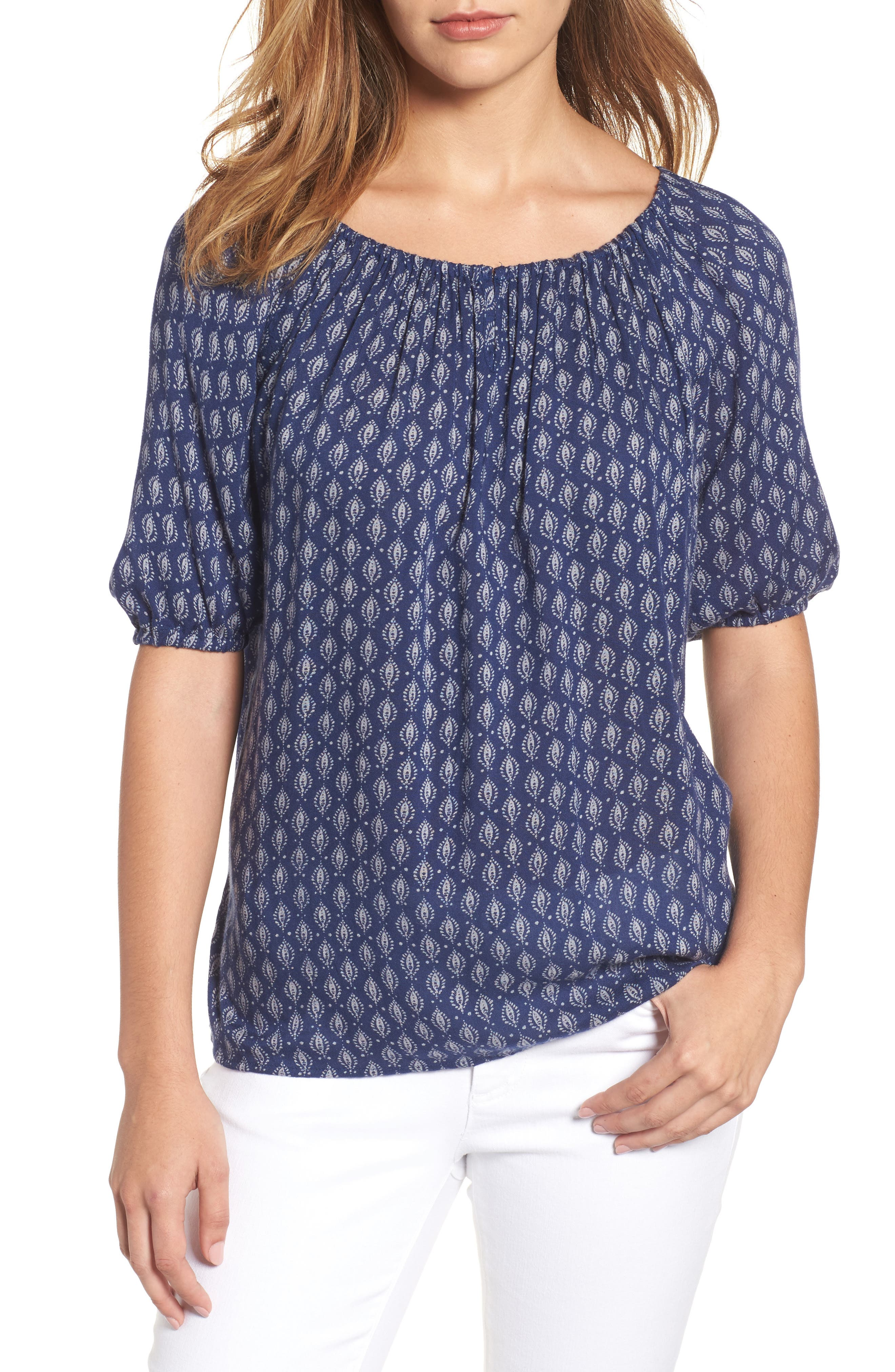Velvet by Graham & Spencer Print Gauze Peasant Top