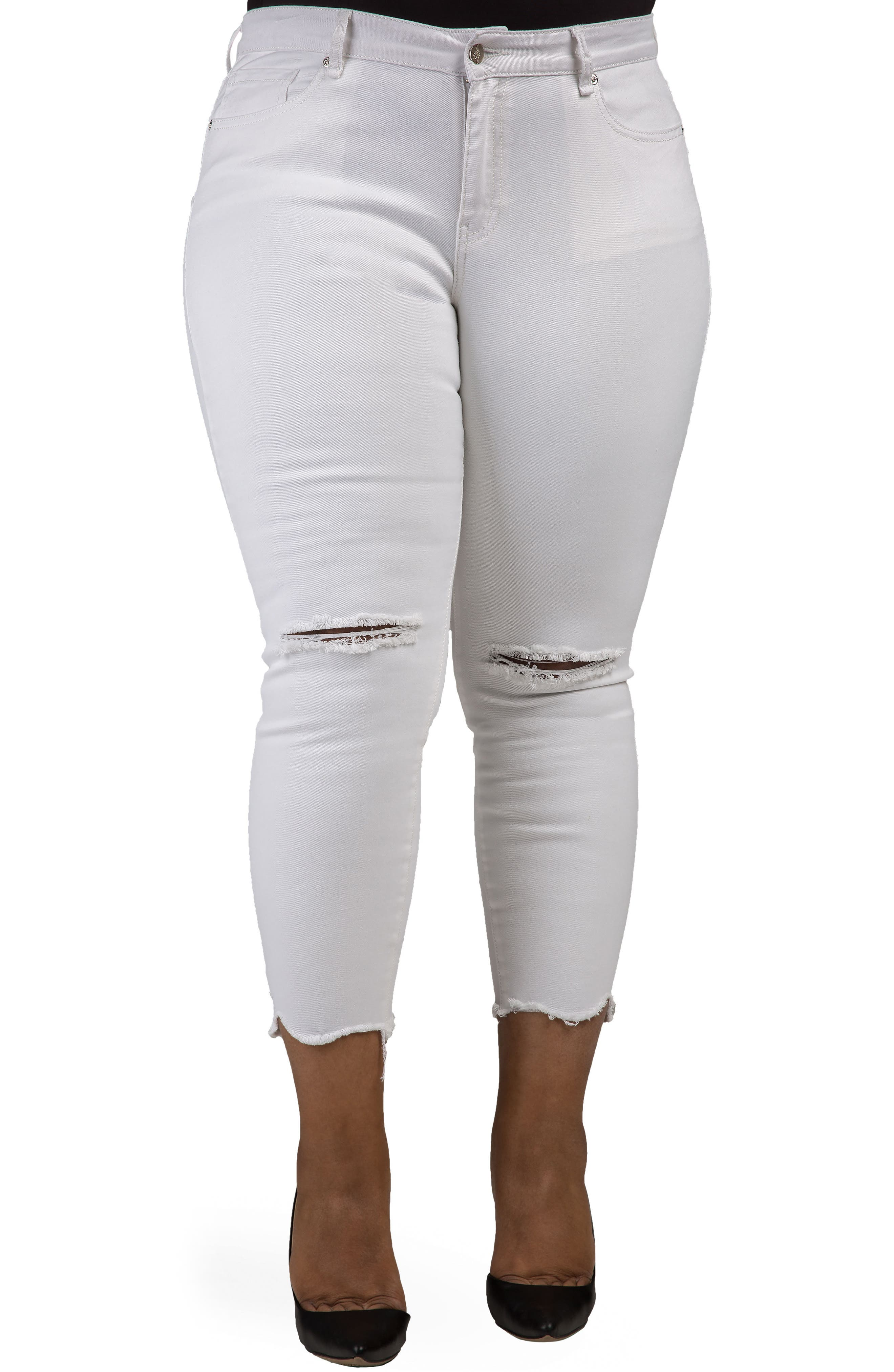 Poetic Justice Ripped Jagged Hem Ankle Jeans (Shark Bite) (Plus Size)