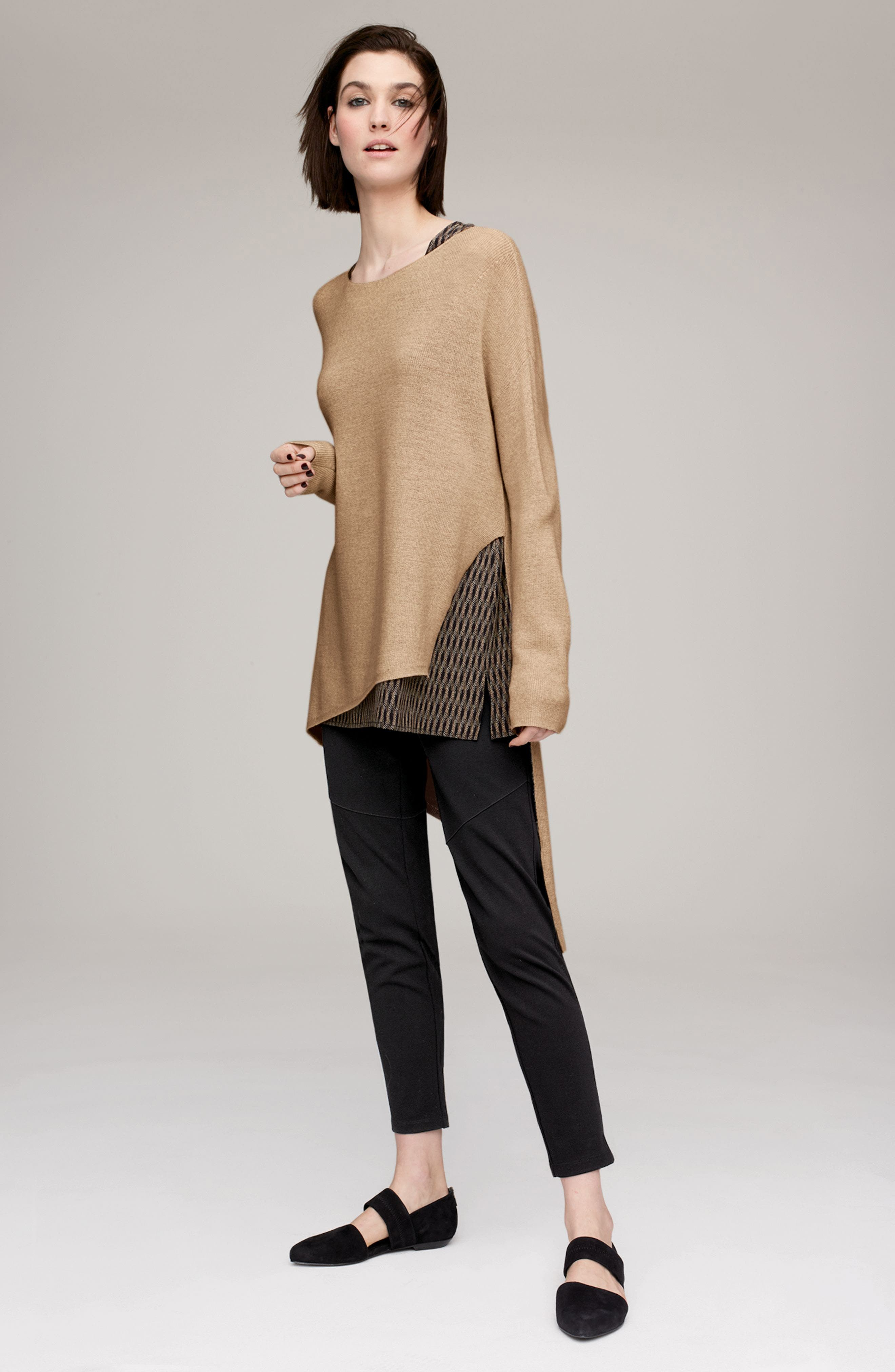 Eileen Fisher Pullover & Moto Pants Outfit with Accessories