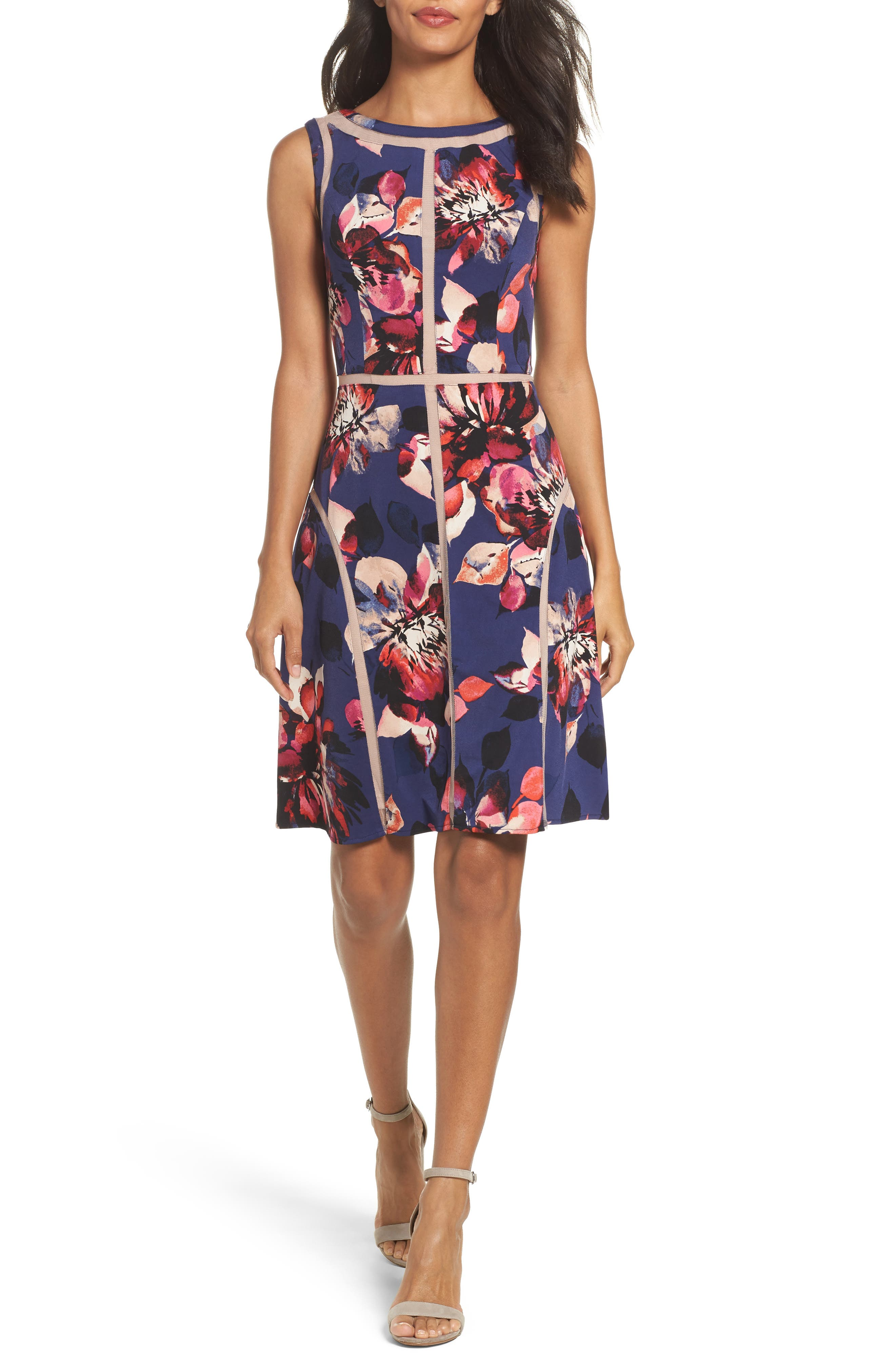 Adrianna Papell Jersey Fit & Flare Dress (Regular & Petite)