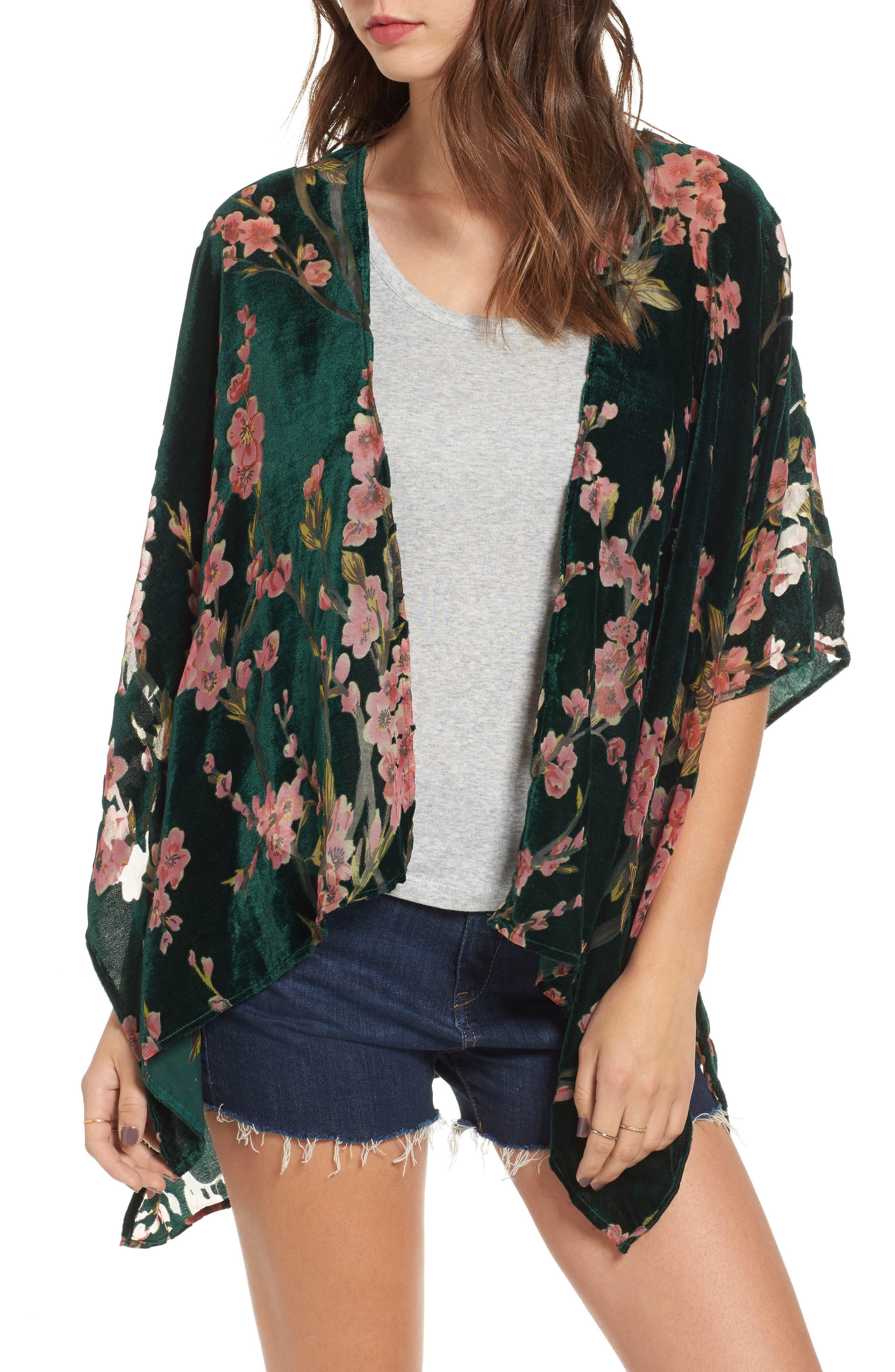 Woven Heart Cherry Blossom Velvet Kimono