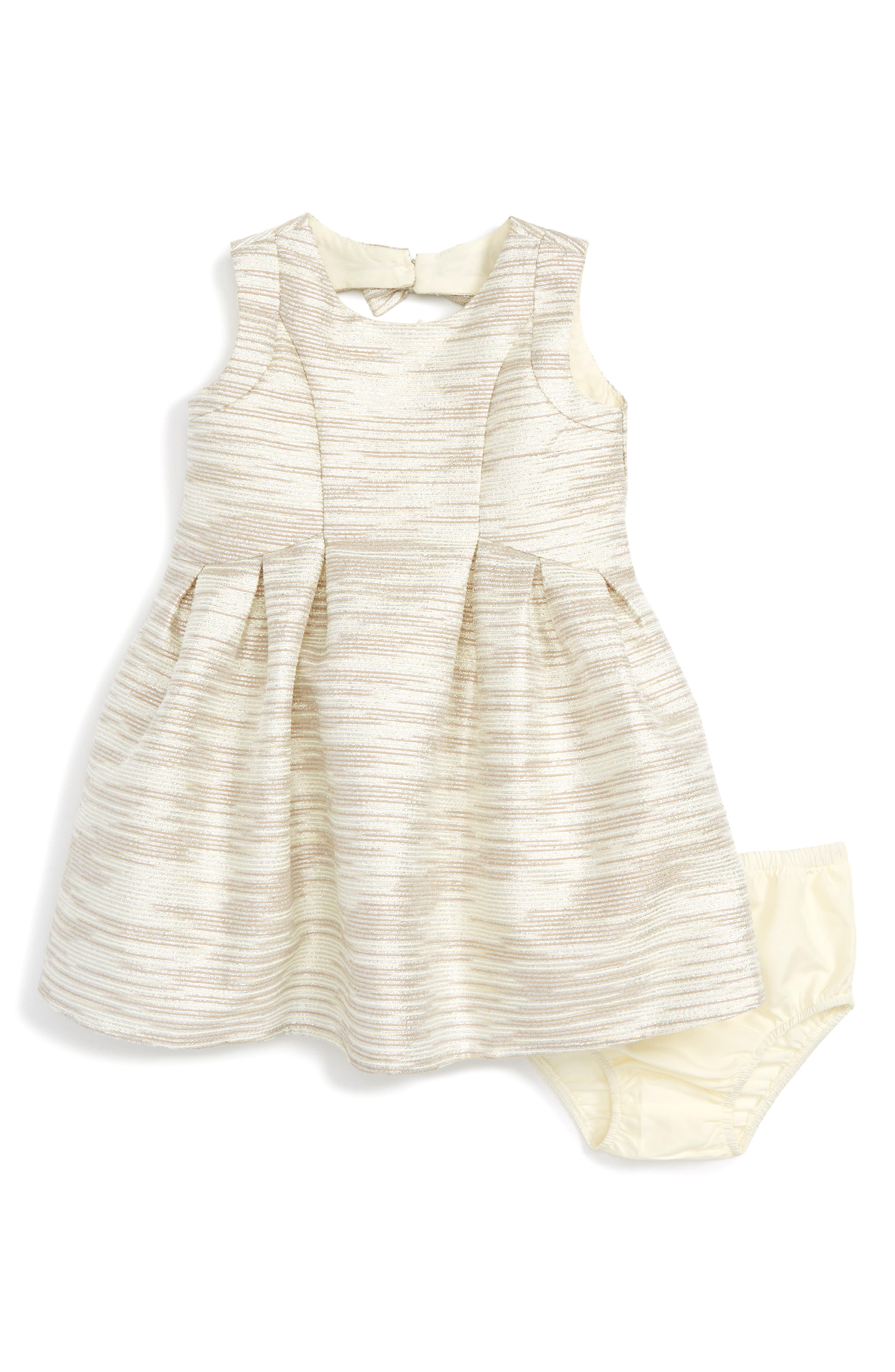 Us Angels Metallic Stripe Sleeveless Dress (Baby Girls)