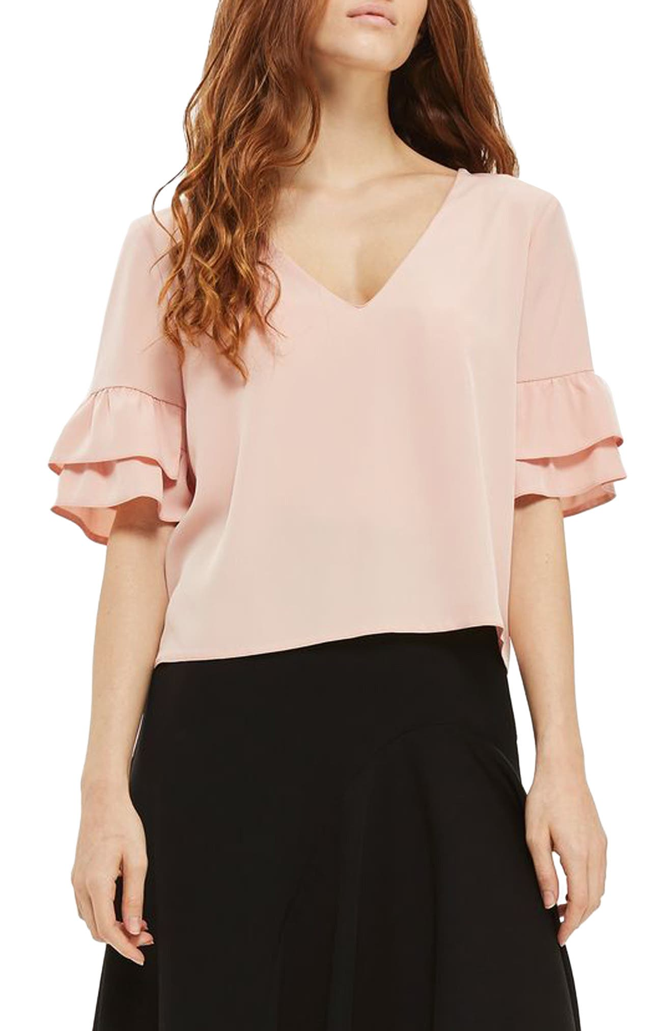 Topshop Tie Back Ruffle Sleeve Top