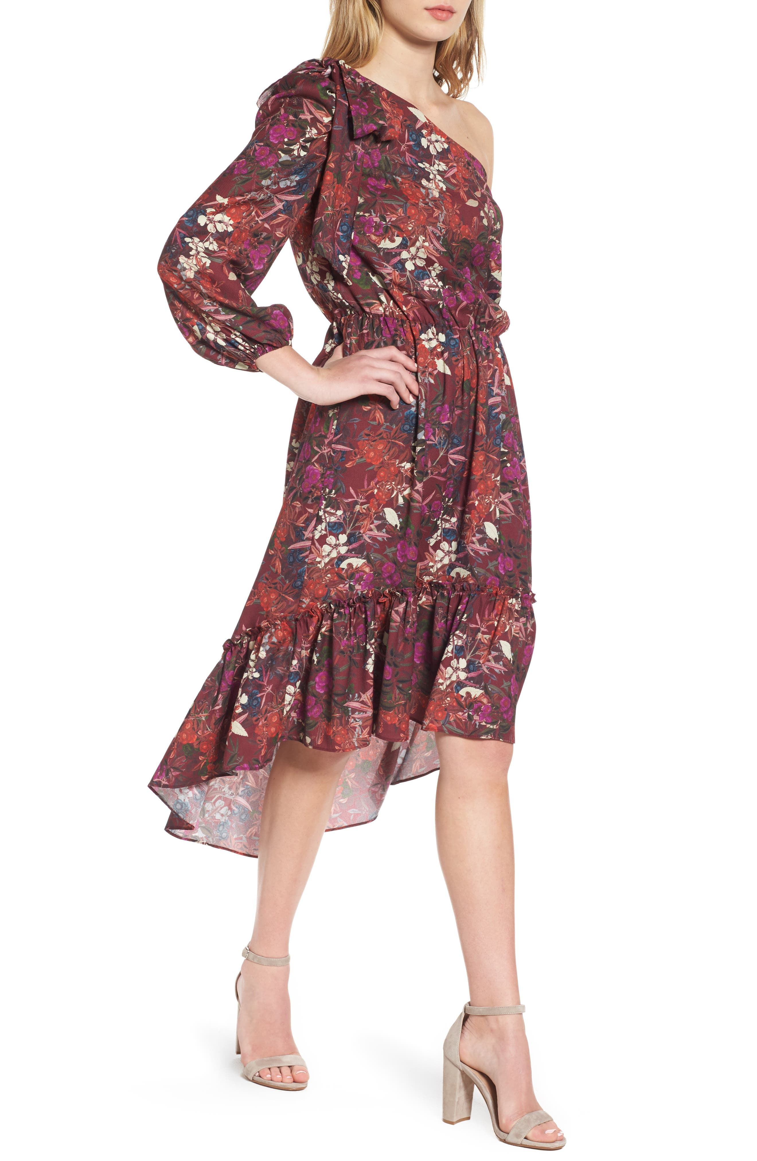 Chelsea28 Asymmetrical Tiered Blouson Dress