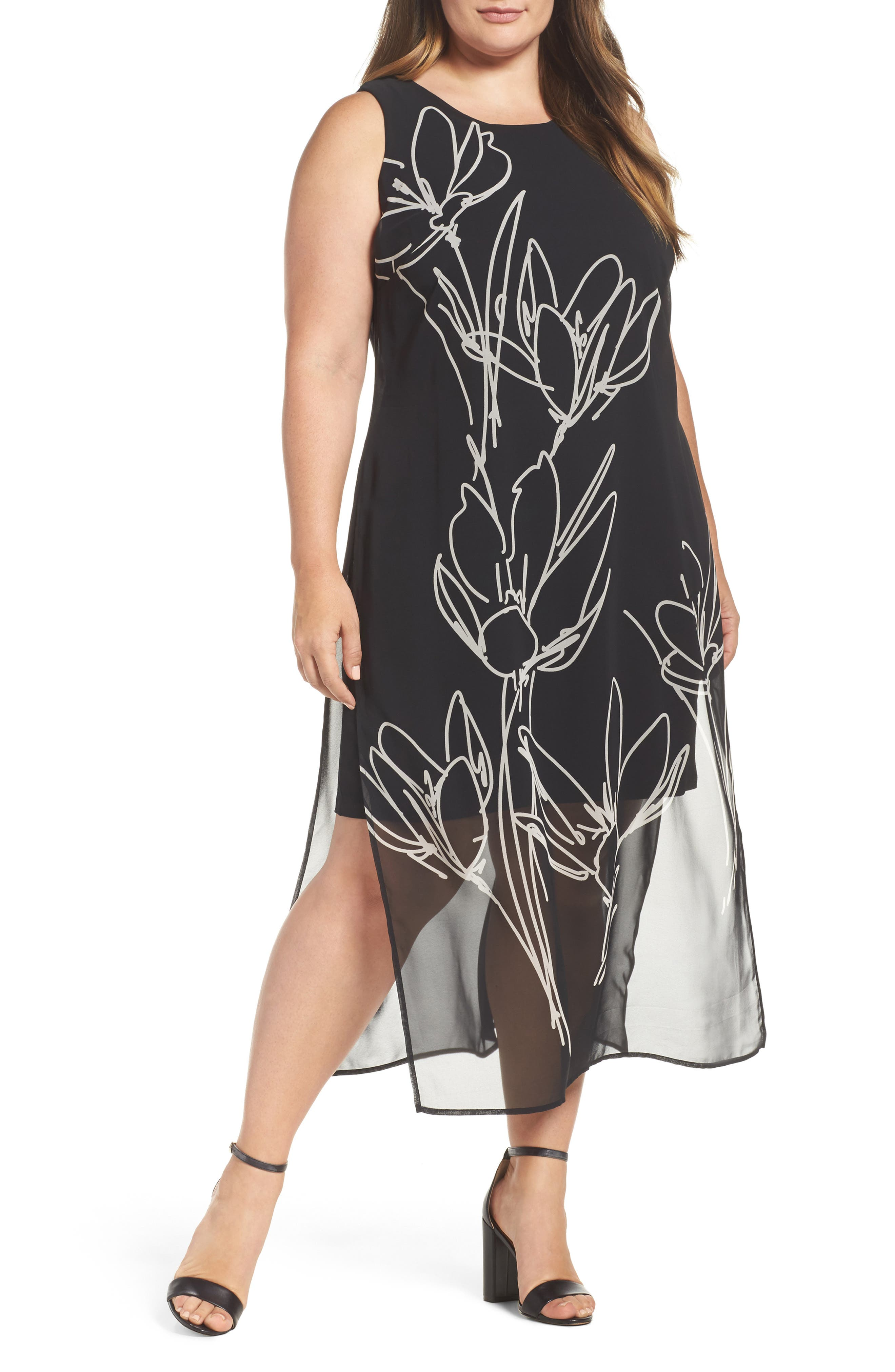 Vince Camuto Fluent Cluster Overlay Shift Dress (Plus Size)