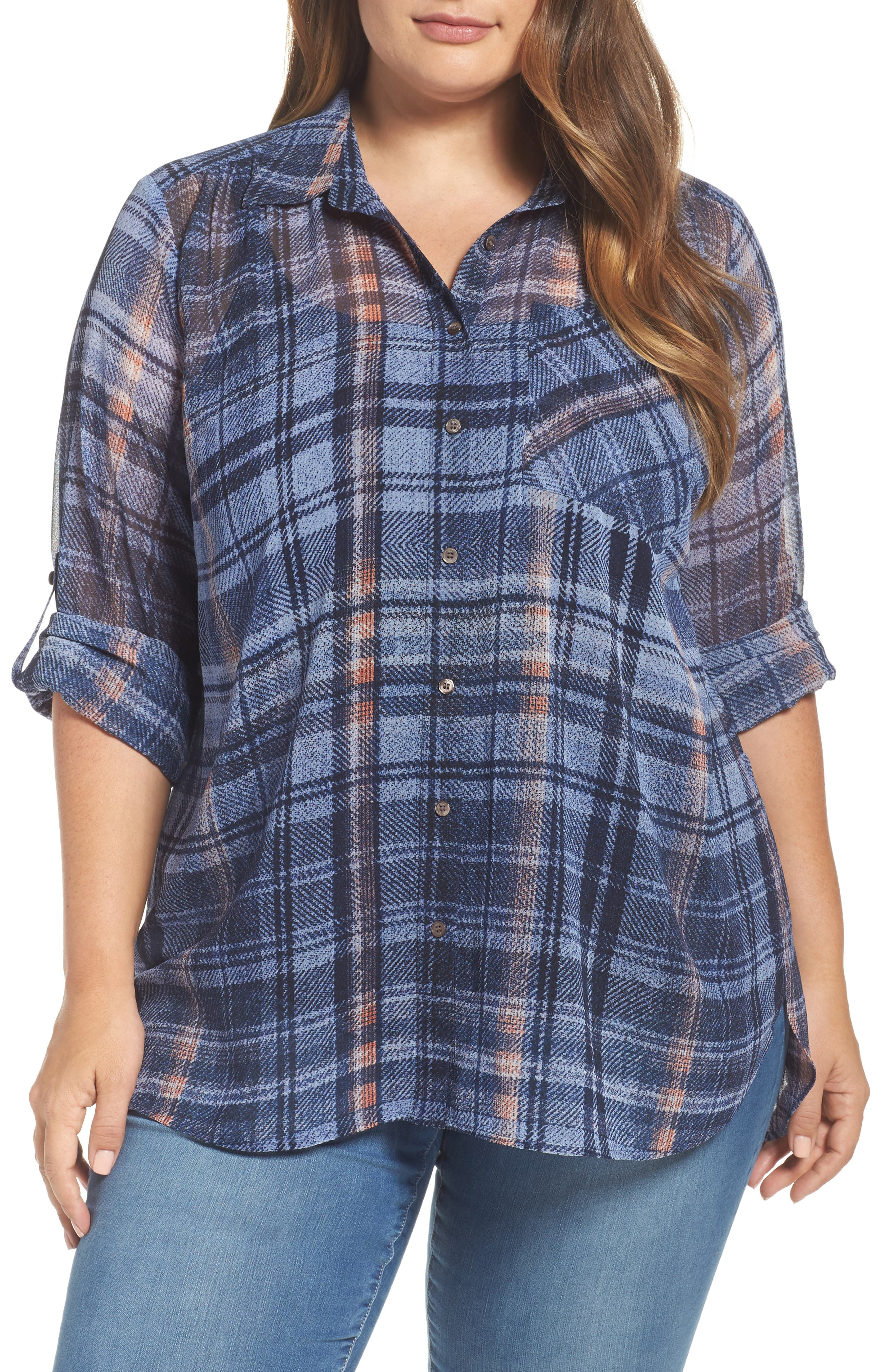 Two by Vince Camuto Plaid Georgette Shirt (Plus Size)