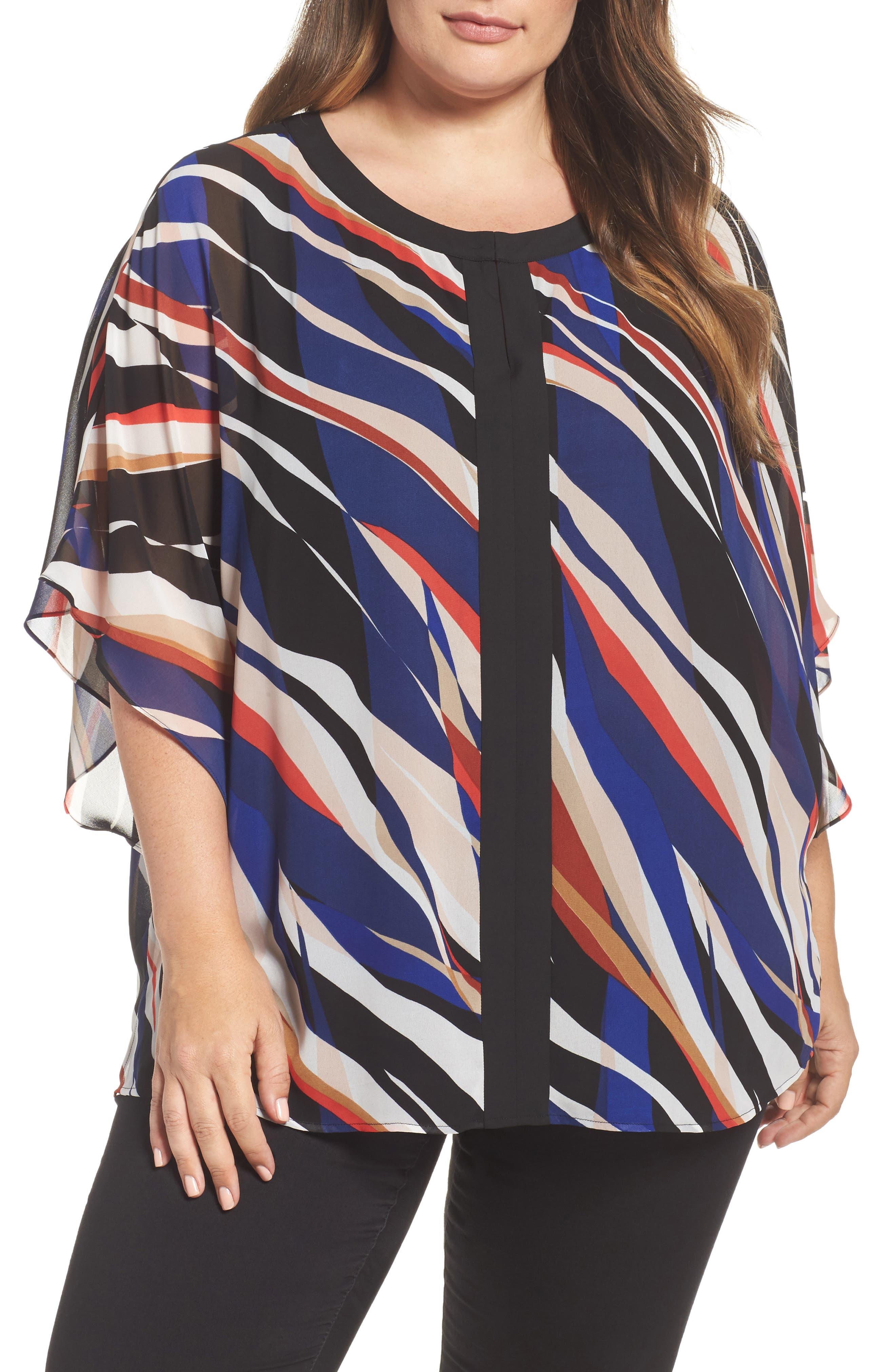 Vince Camuto Graphic Zebra Flutter Top (Plus Size)