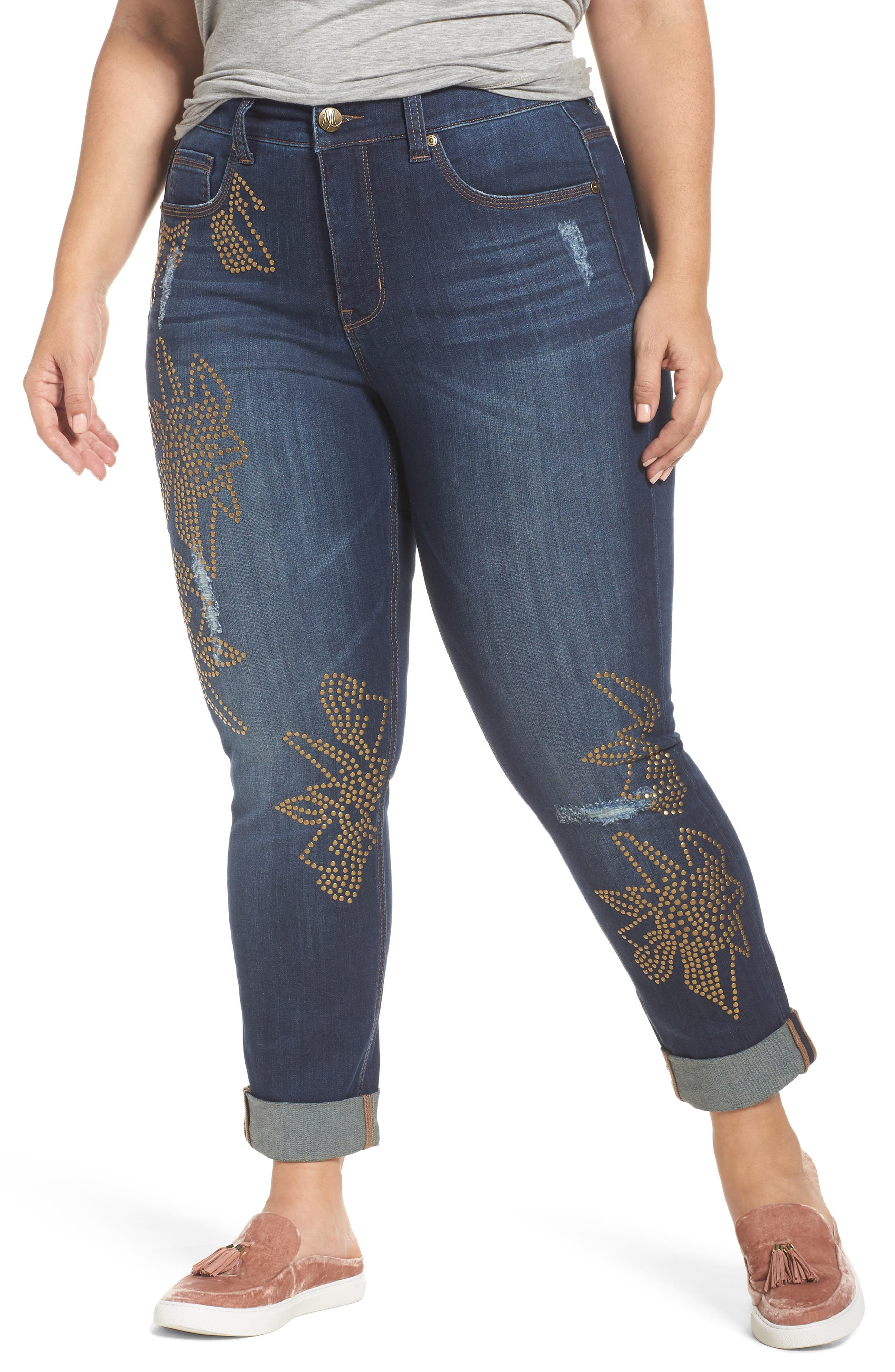 Melissa McCarthy Seven7 Studded Roll Cuff Skinny Jeans (Darcy) (Plus Size)