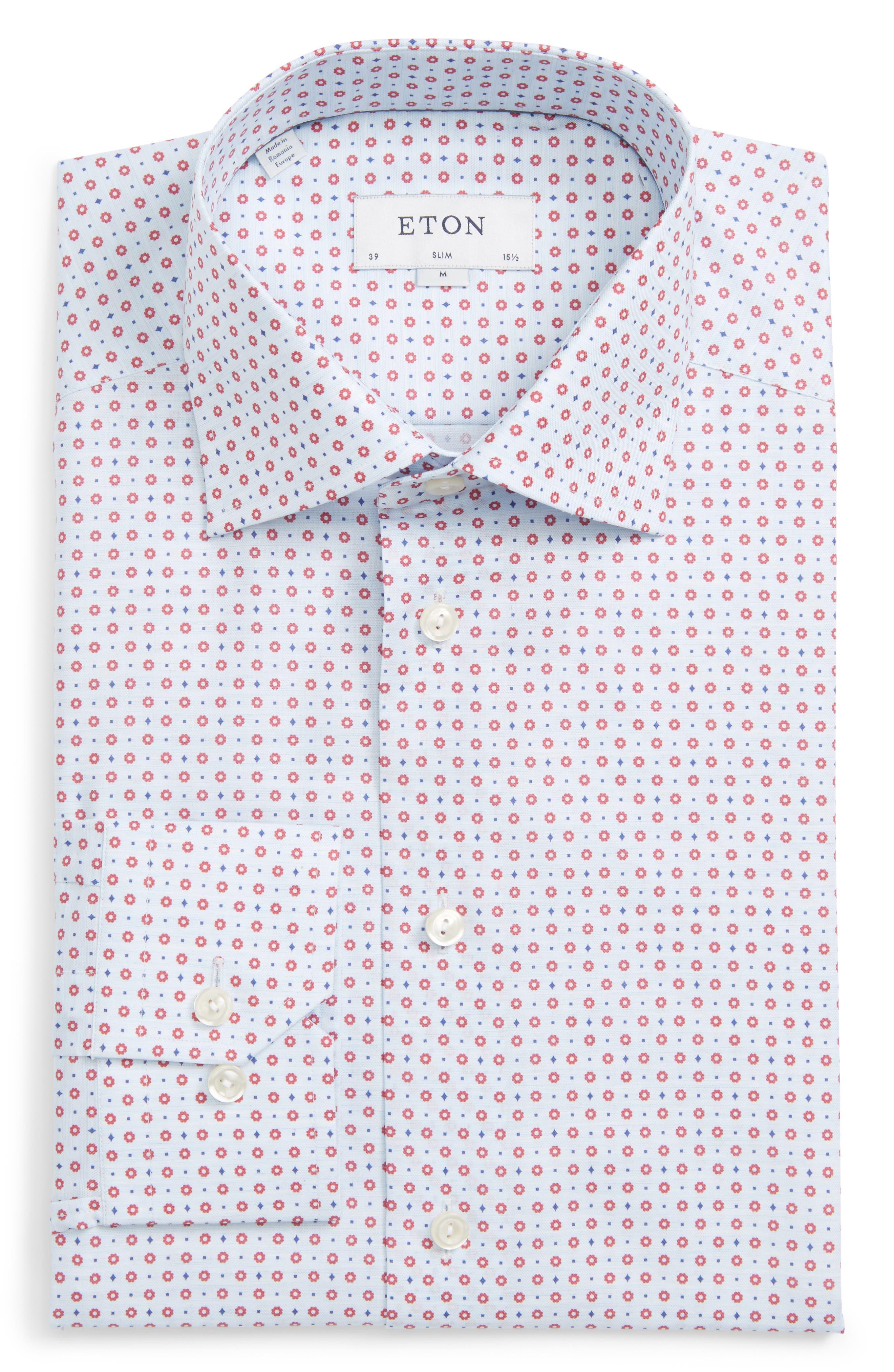 Eton Slim Fit Floral Print Dress Shirt