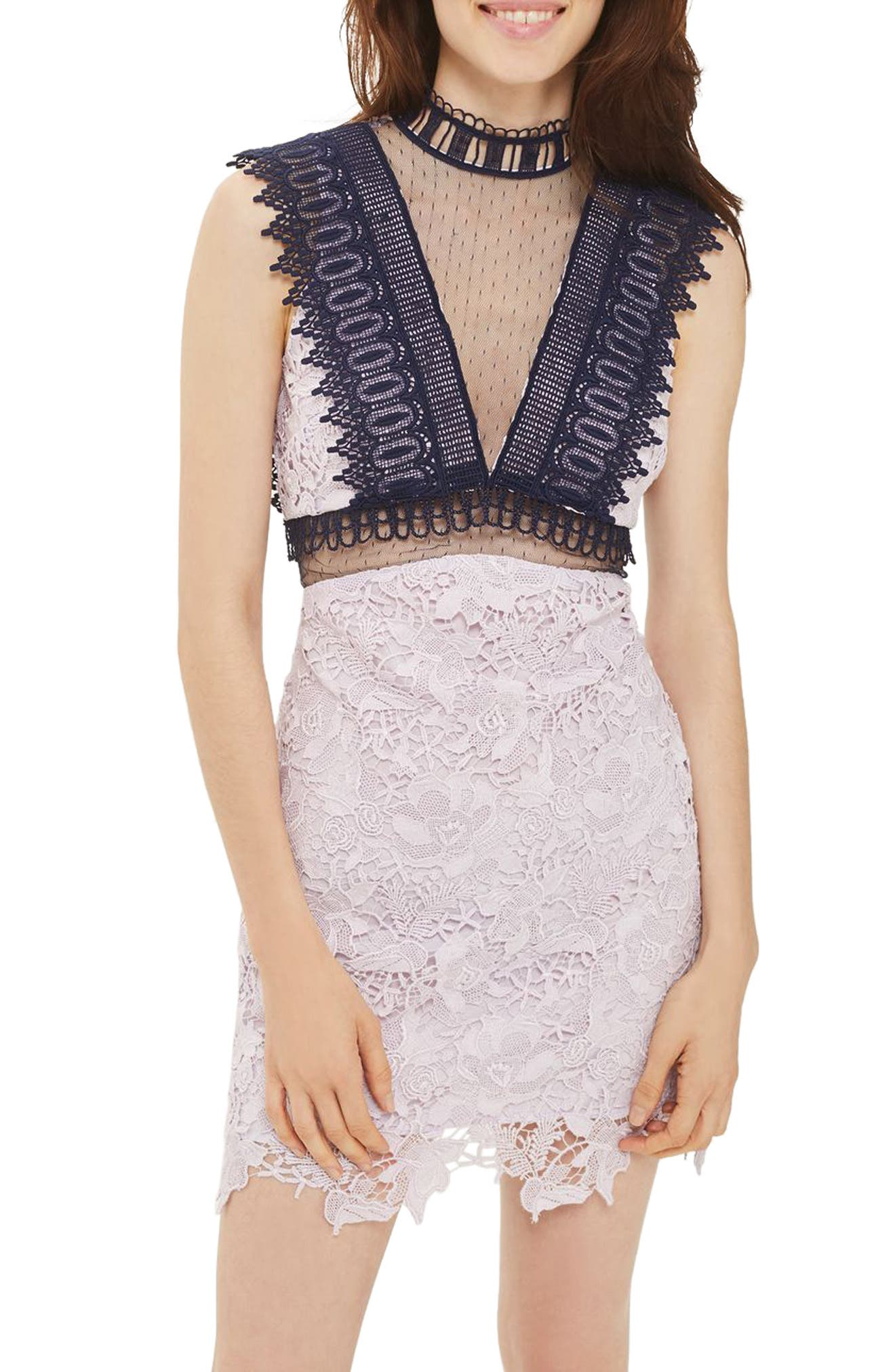 Topshop Contrast & Illusion Lace Minidress
