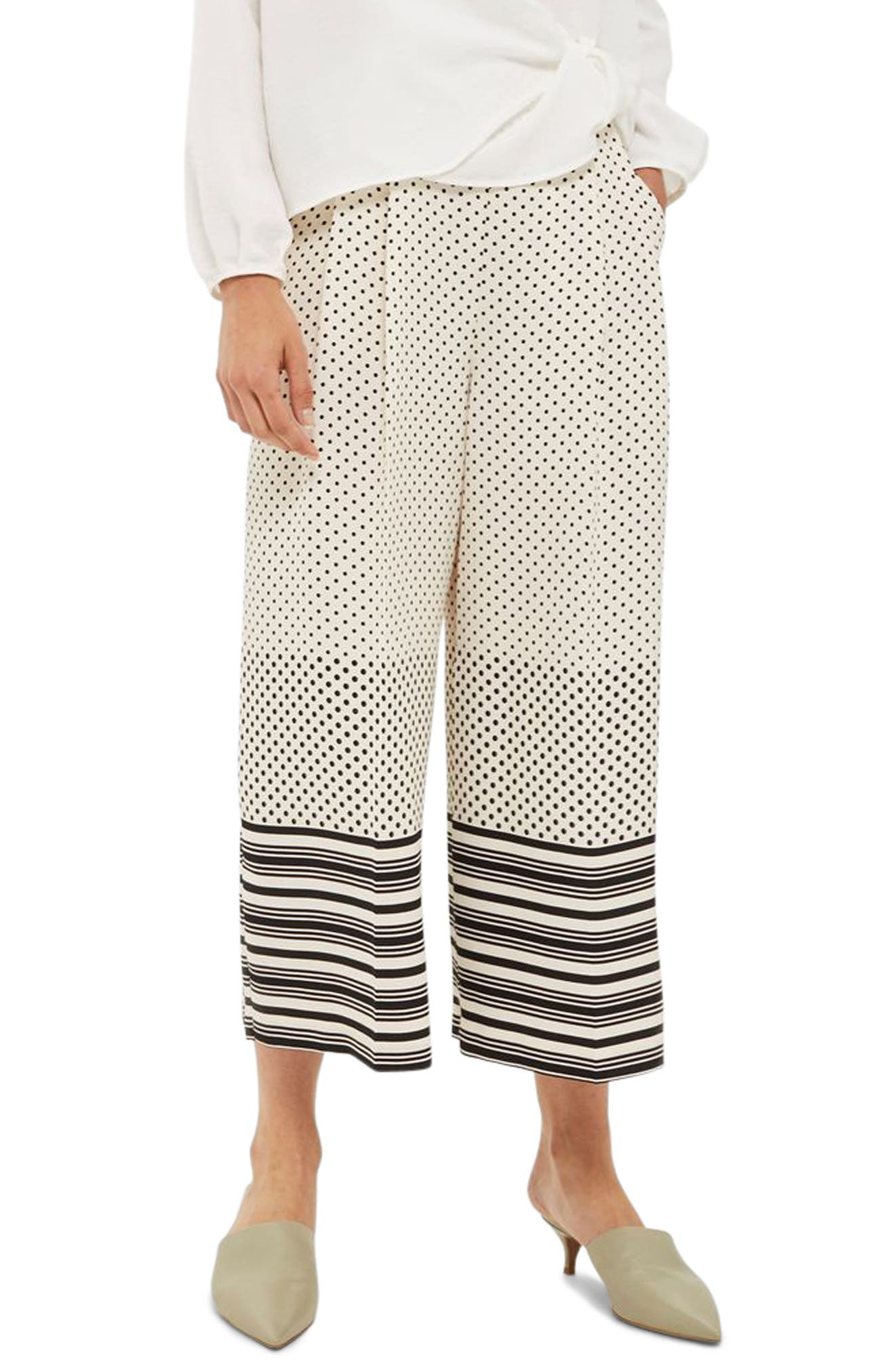 Topshop Spot Stripe Crop Wide Leg Trousers