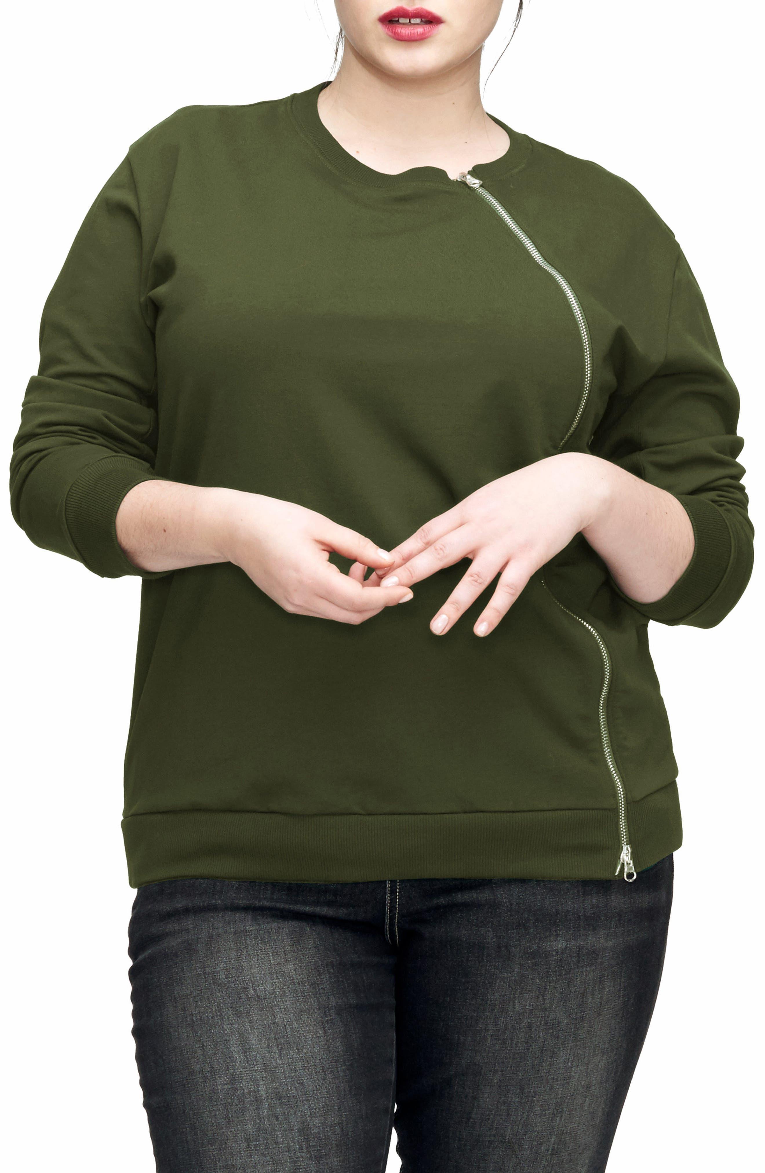 UNIVERSAL STANDARD Meridian Zip Front Sweatshirt (Plus Size)