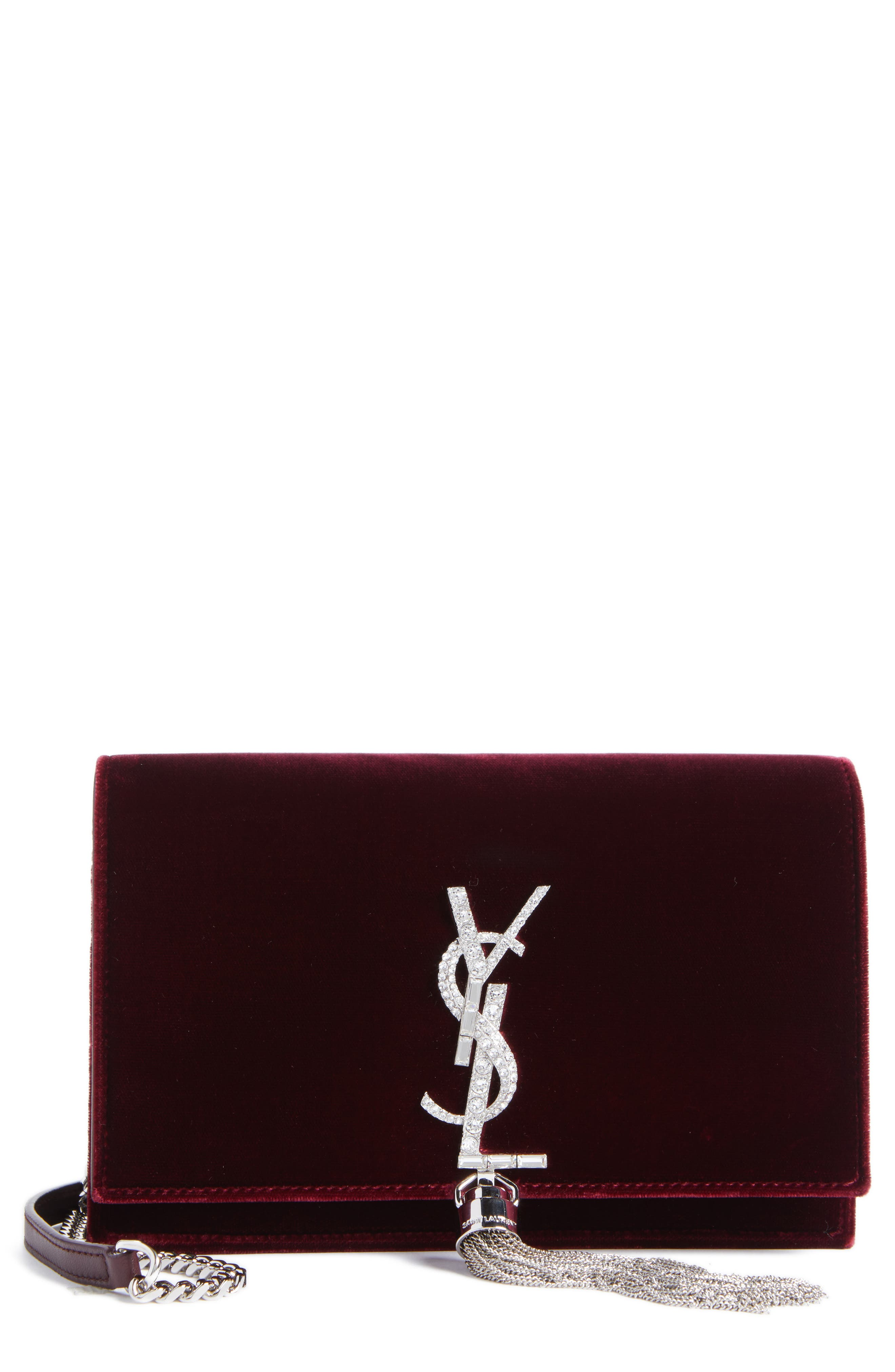 Saint Laurent Small Kate Crystal Logo Wallet on a Chain