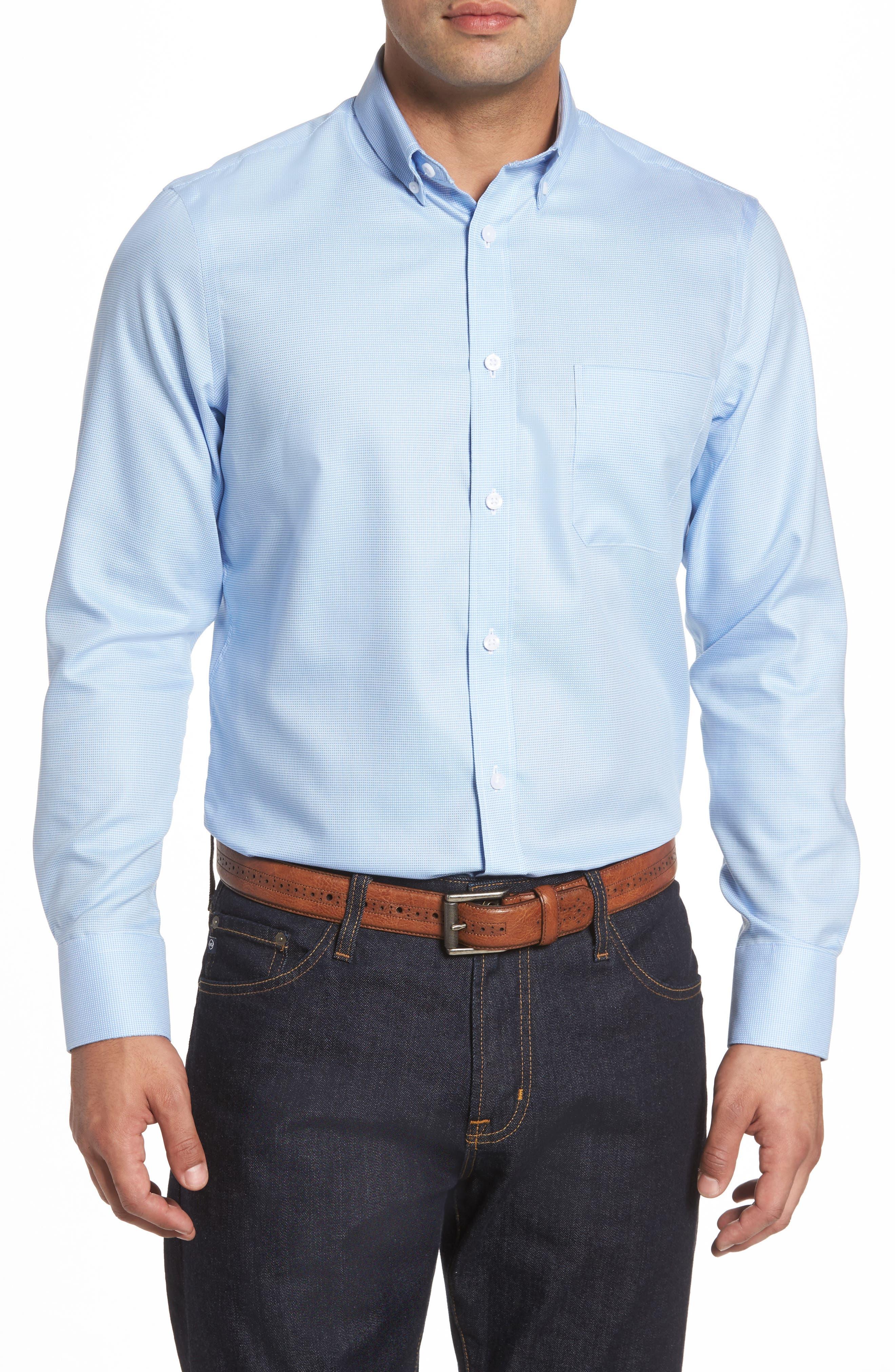 Nordstrom Men's Shop Smartcare™ Regular Fit Nailhead Sport Shirt (Regular & Tall)