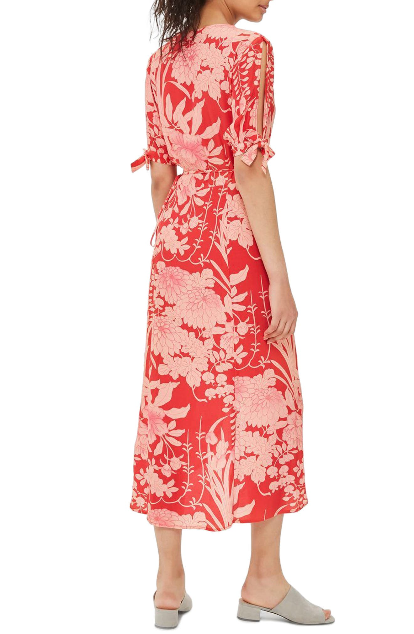 Alternate Image 3  - Topshop Floral Tie Sleeve Wrap Midi Dress